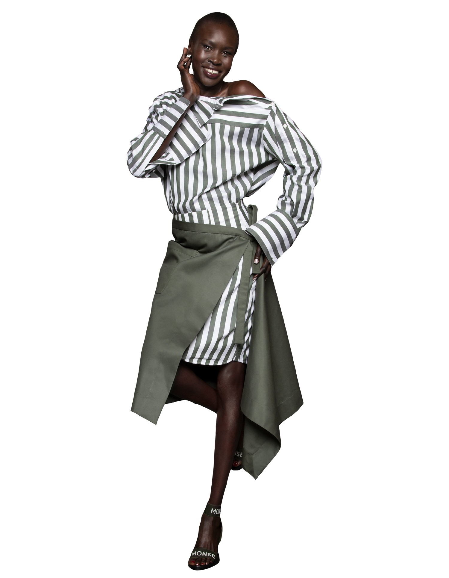 Monse Women's Off-The-Shoulder Deconstructed Olive and White Striped Shirt