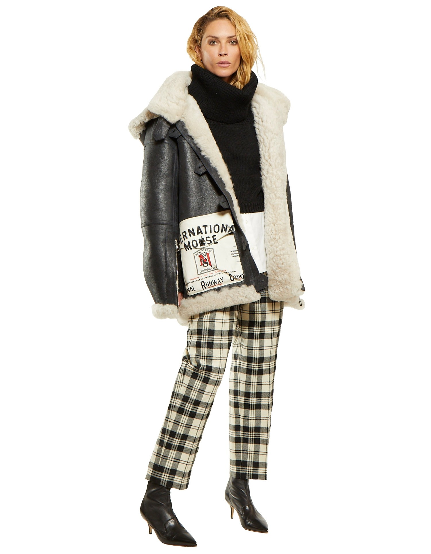 Shearling Coat with Canvas