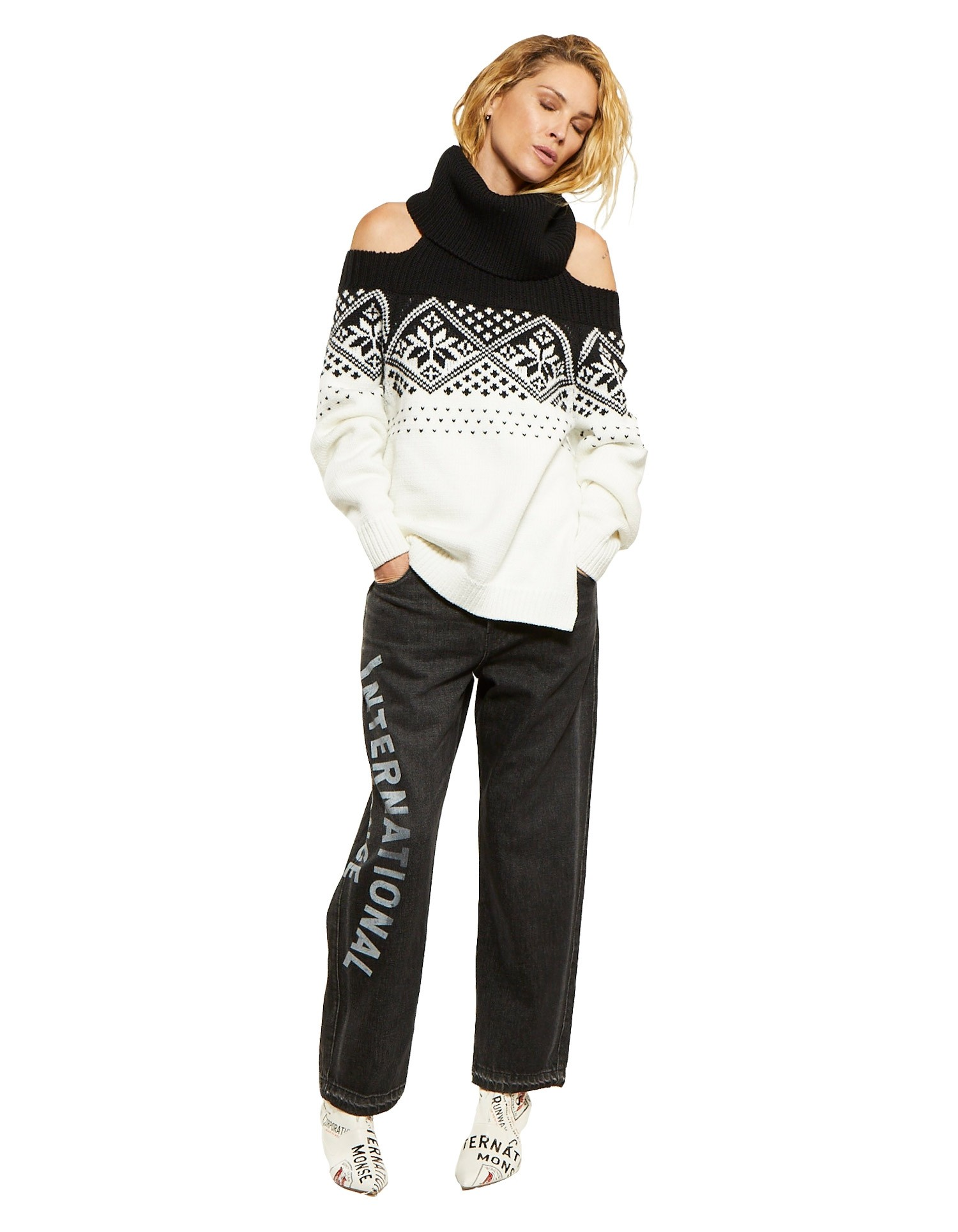 Snowflake Cold Shoulder Sweater