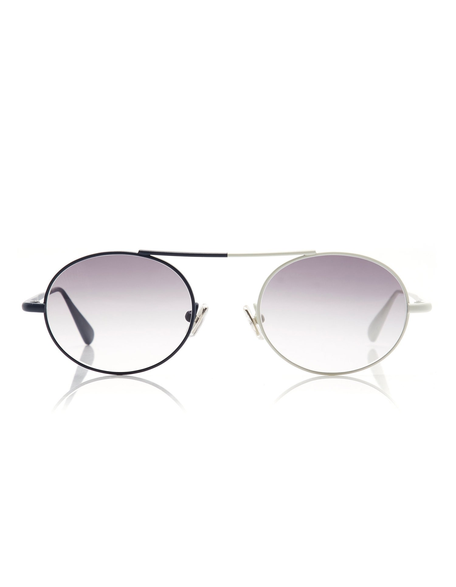 Monse Nina Sunglasses with Dual Colored Rims in Navy and Ivory