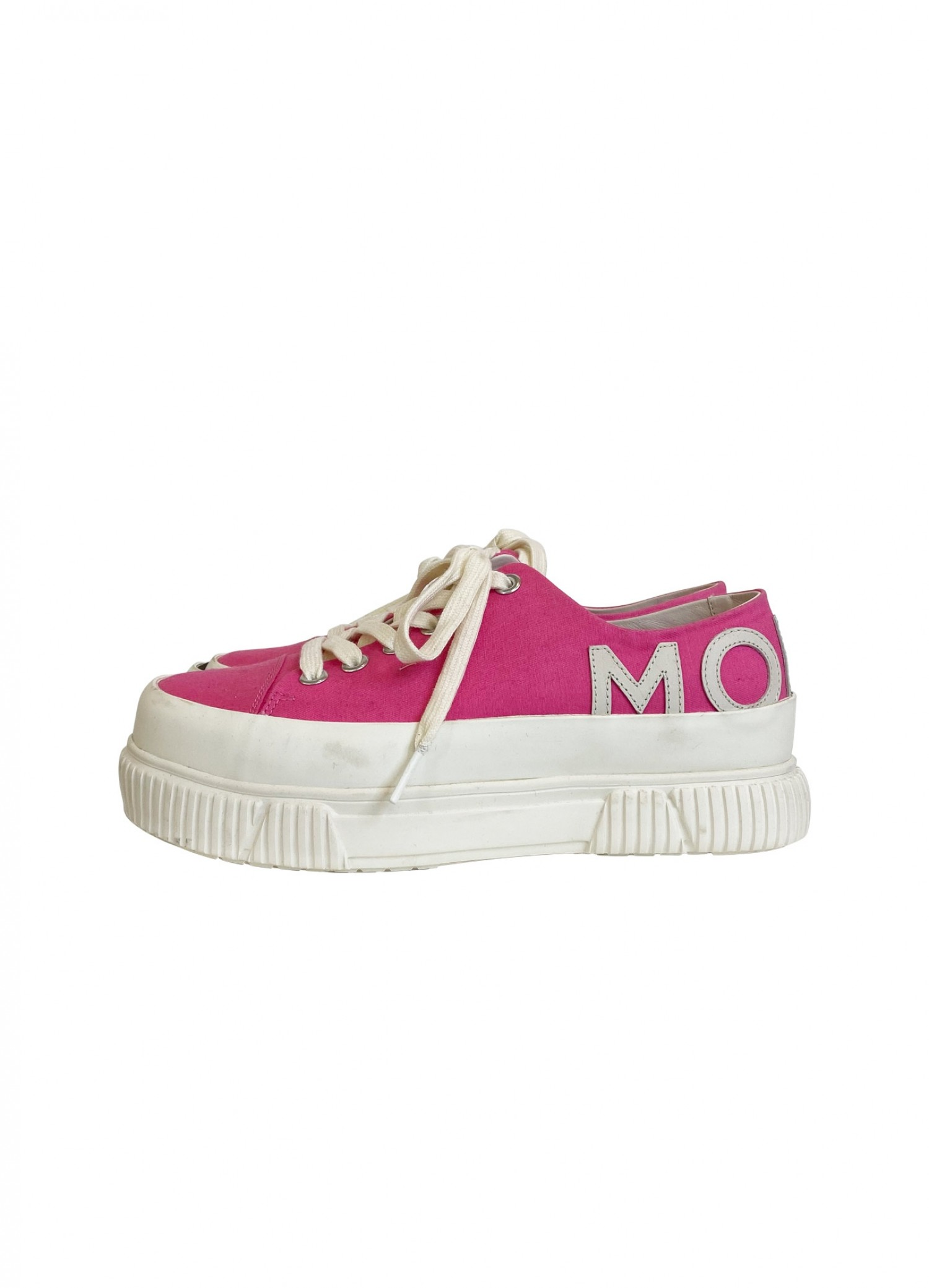 BOTH x MONSE Classic Platform Shoe in Hot Pink Side View