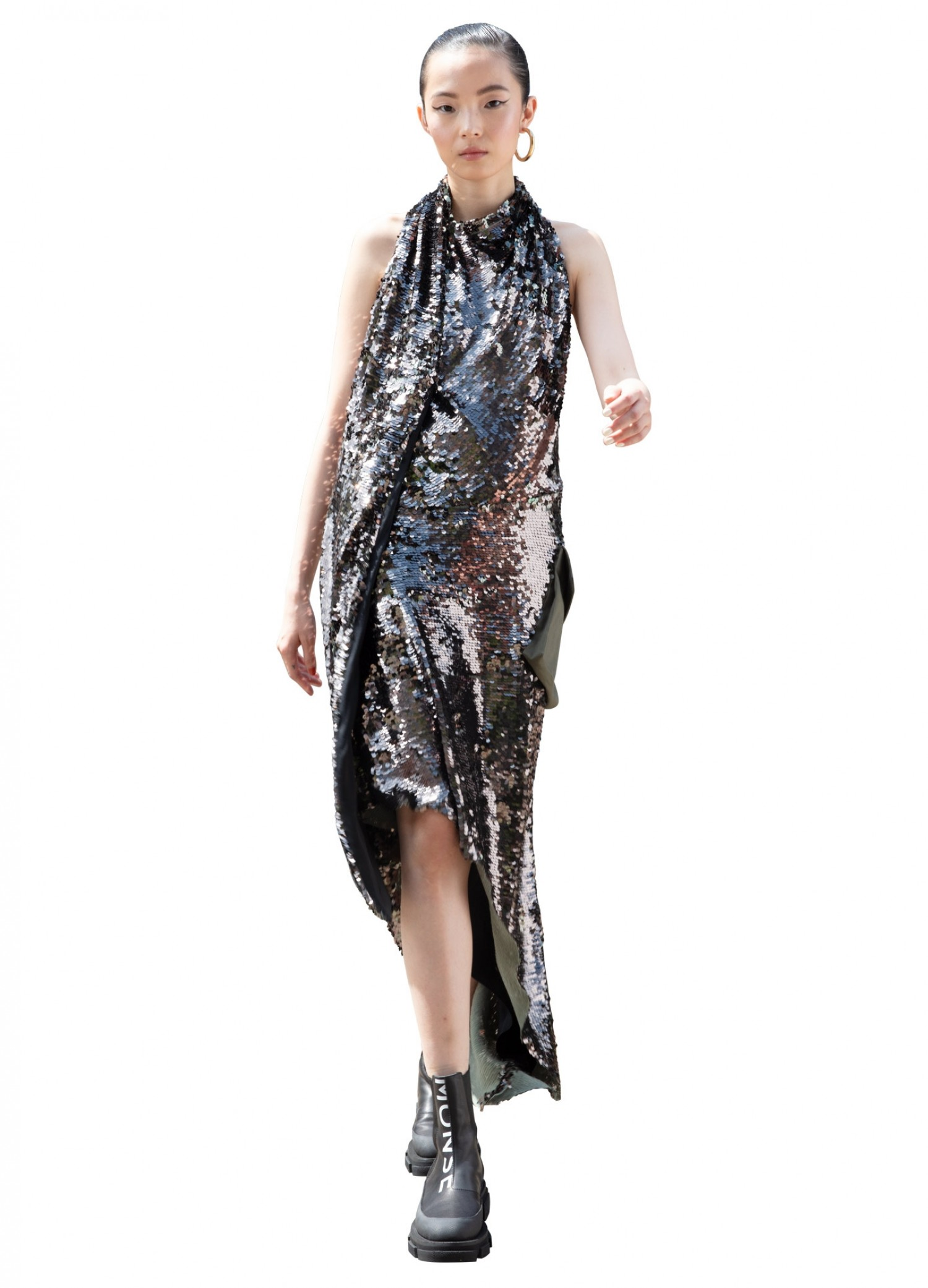 MONSE Cargo Sequin Gown in Olive on Model Front View