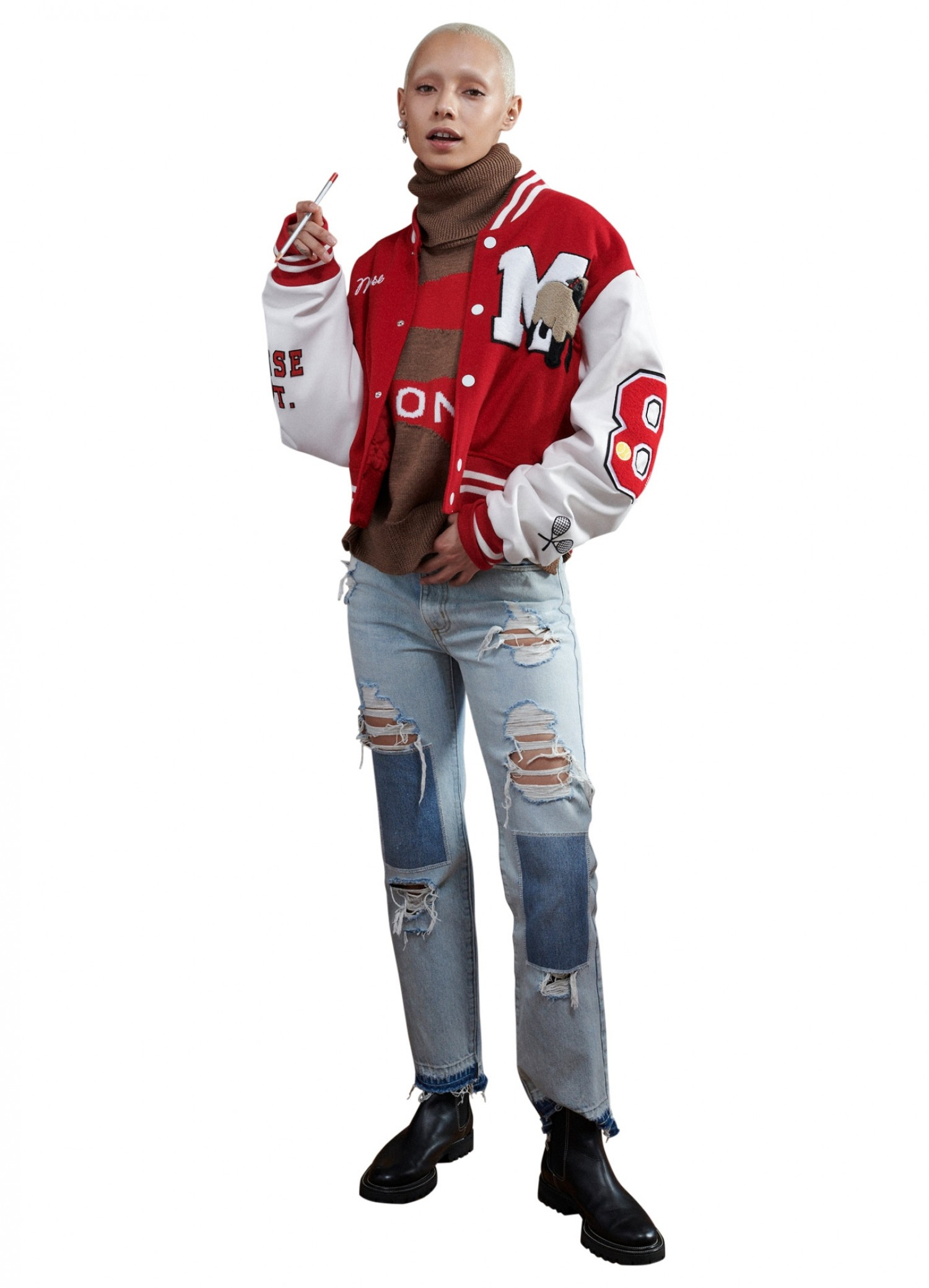 MONSE Cropped Letterman Jacket in White and Scarlet on Model Front View
