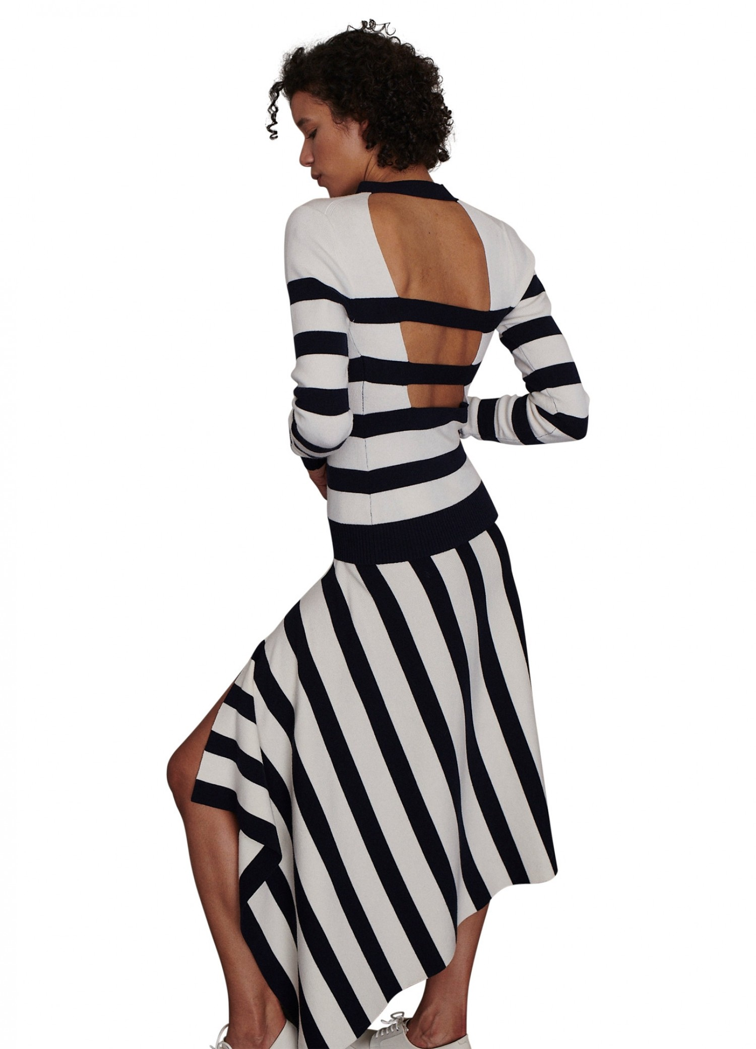MONSE Cut Out Stripe Knit Top in Midnight and Ivory on Model Side View