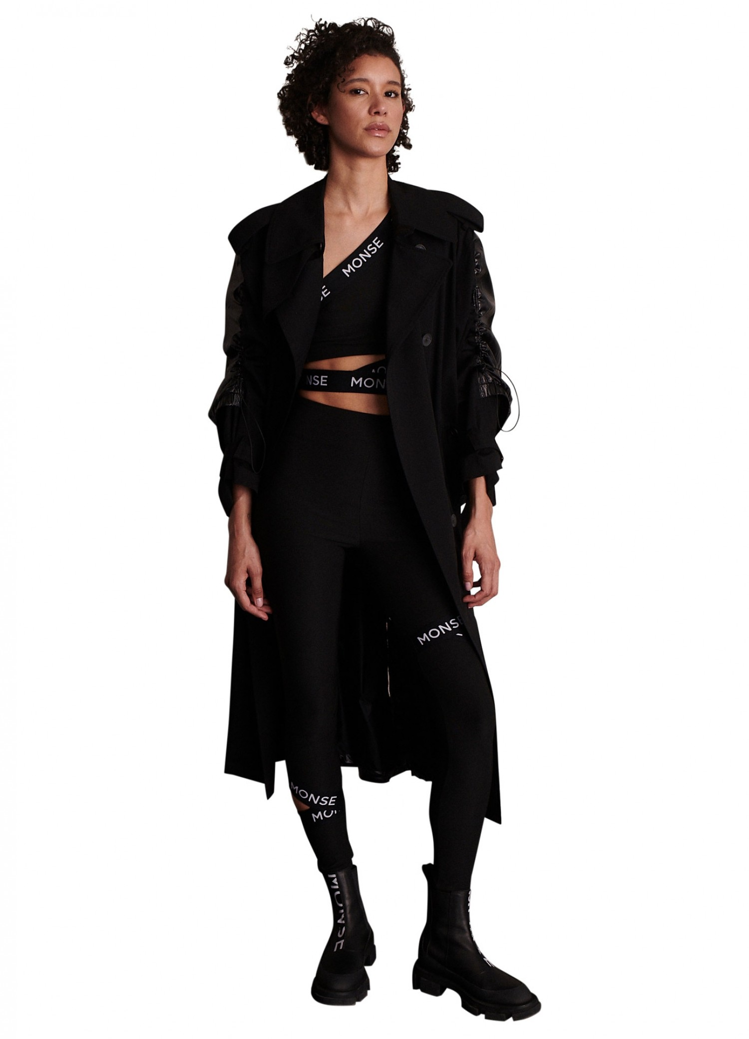MONSE Drawstring Trench Coat in Black on Model Front View