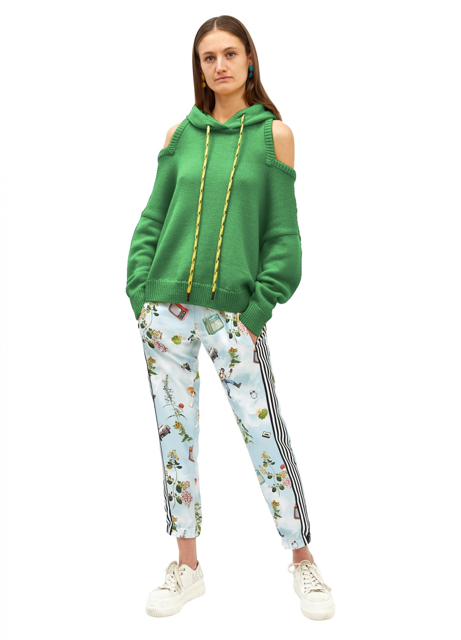MONSE Halter Knit Hoodie in Grass Green on Model Full Front View