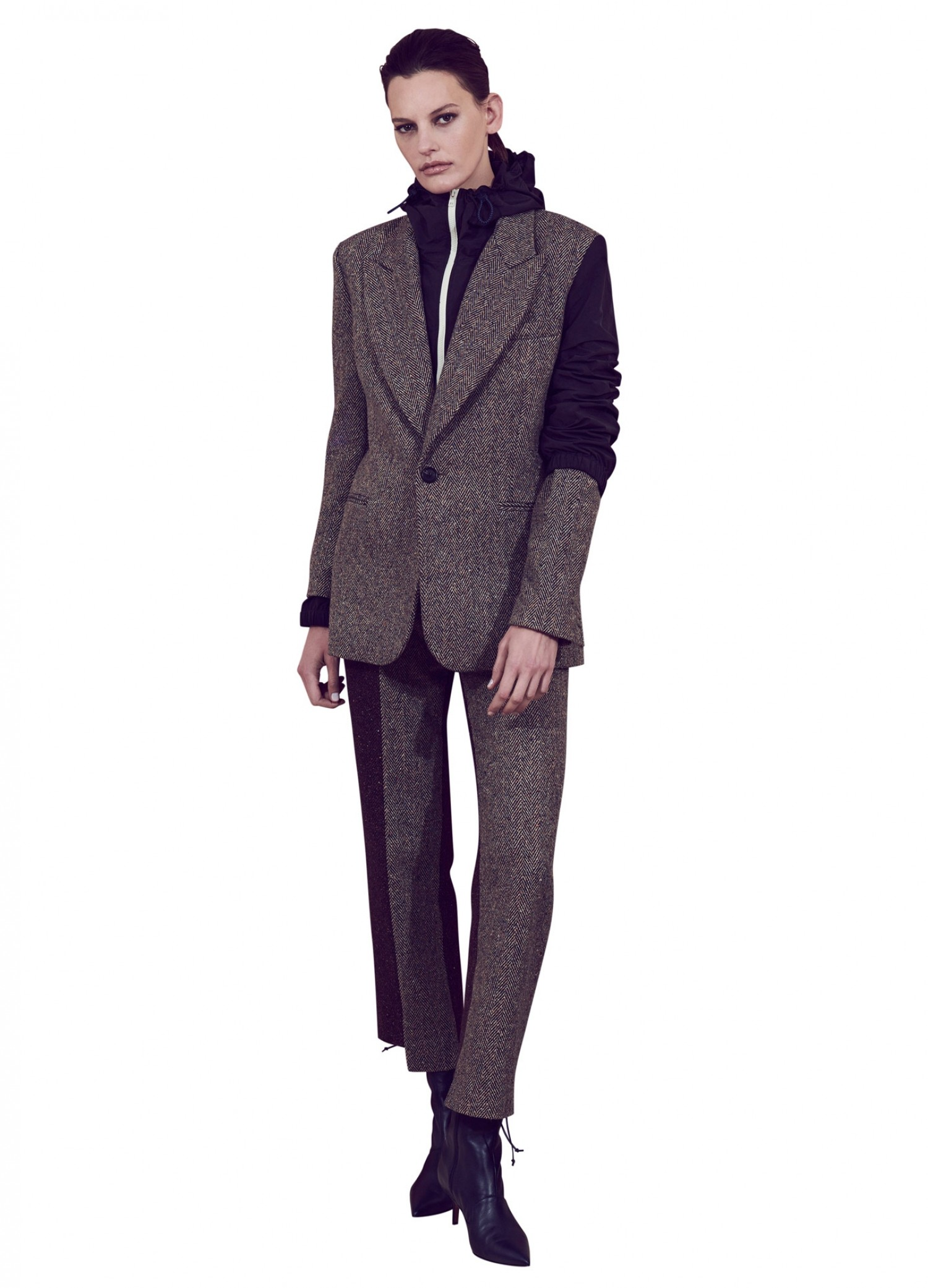 MONSE Herringbone Nylon Double Blazer on Model Front View