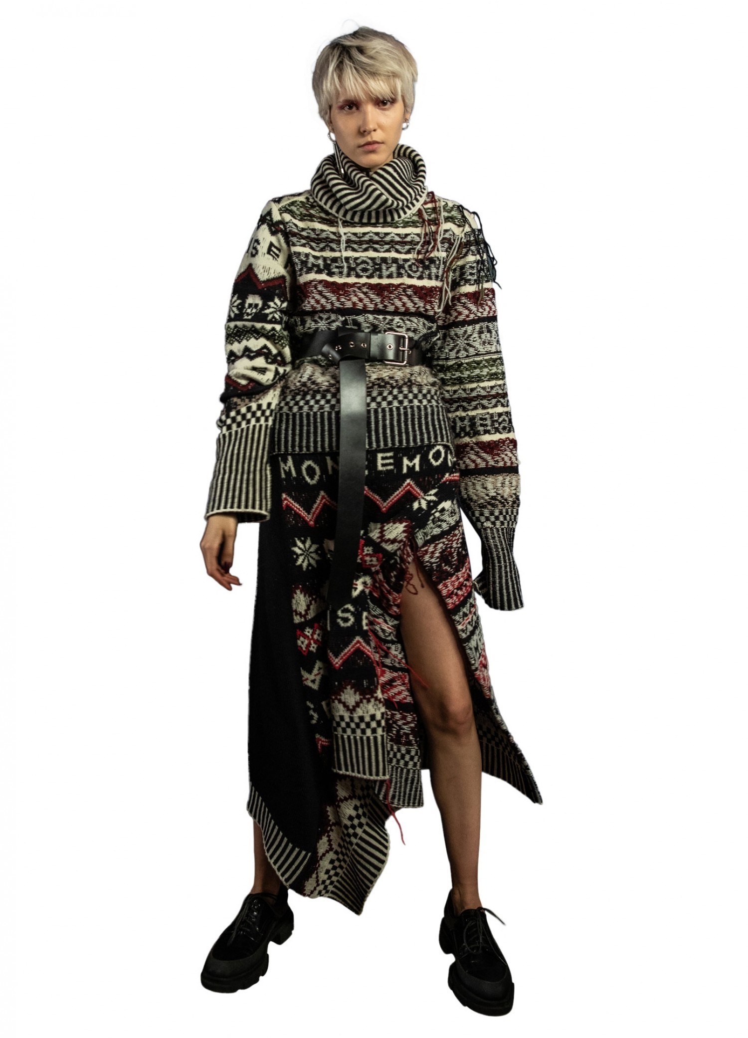 High Low Inside Out Fairisle in Black Multi on Model Front View