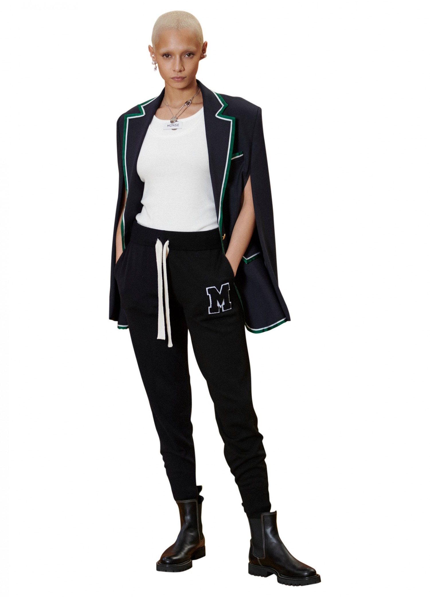 MONSE Knit Jogger in Midnight on Model Front View with Cape Blazer