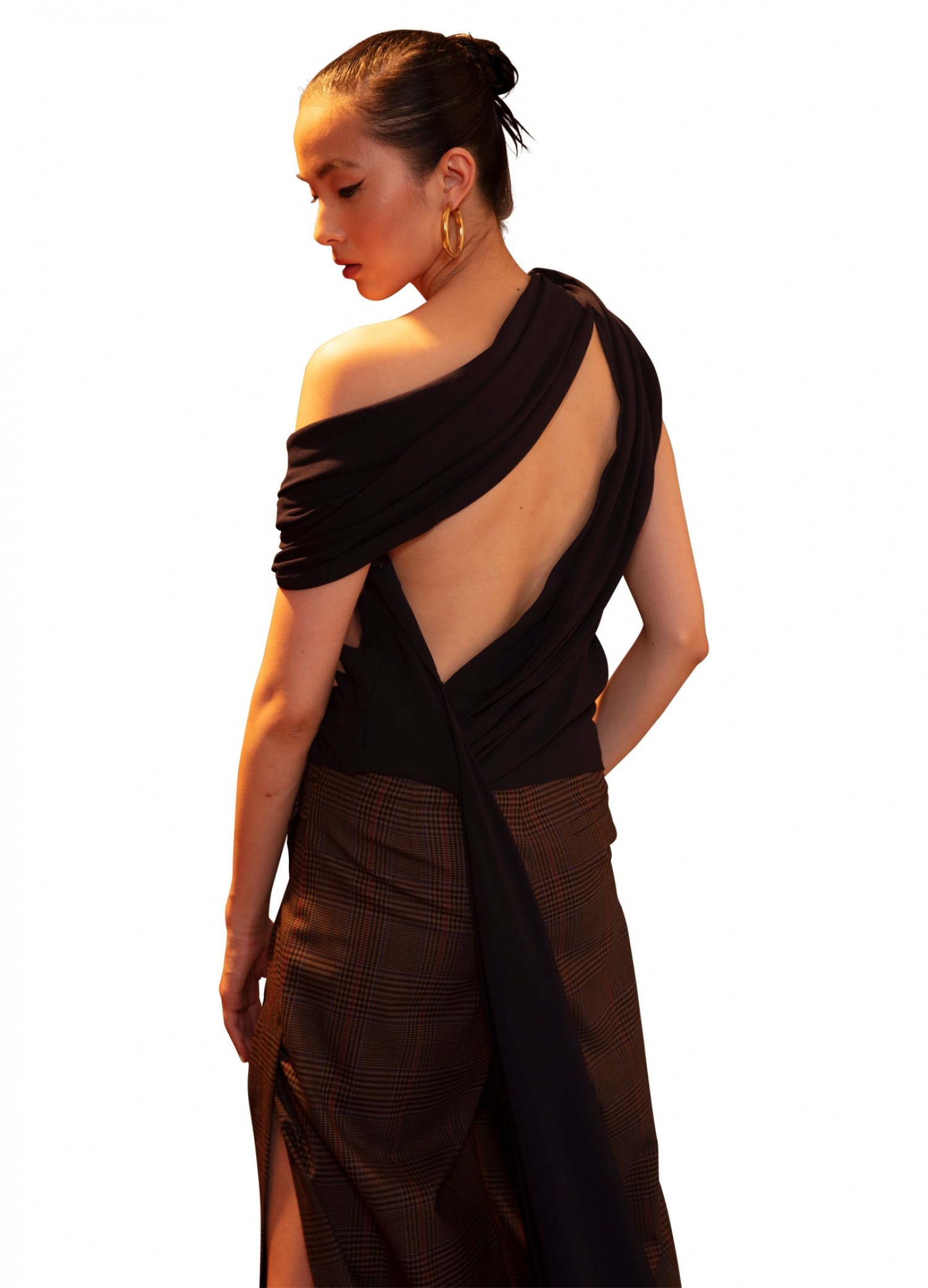 MONSE Knotted Shoulder Drape Top in Midnight on Model Back View