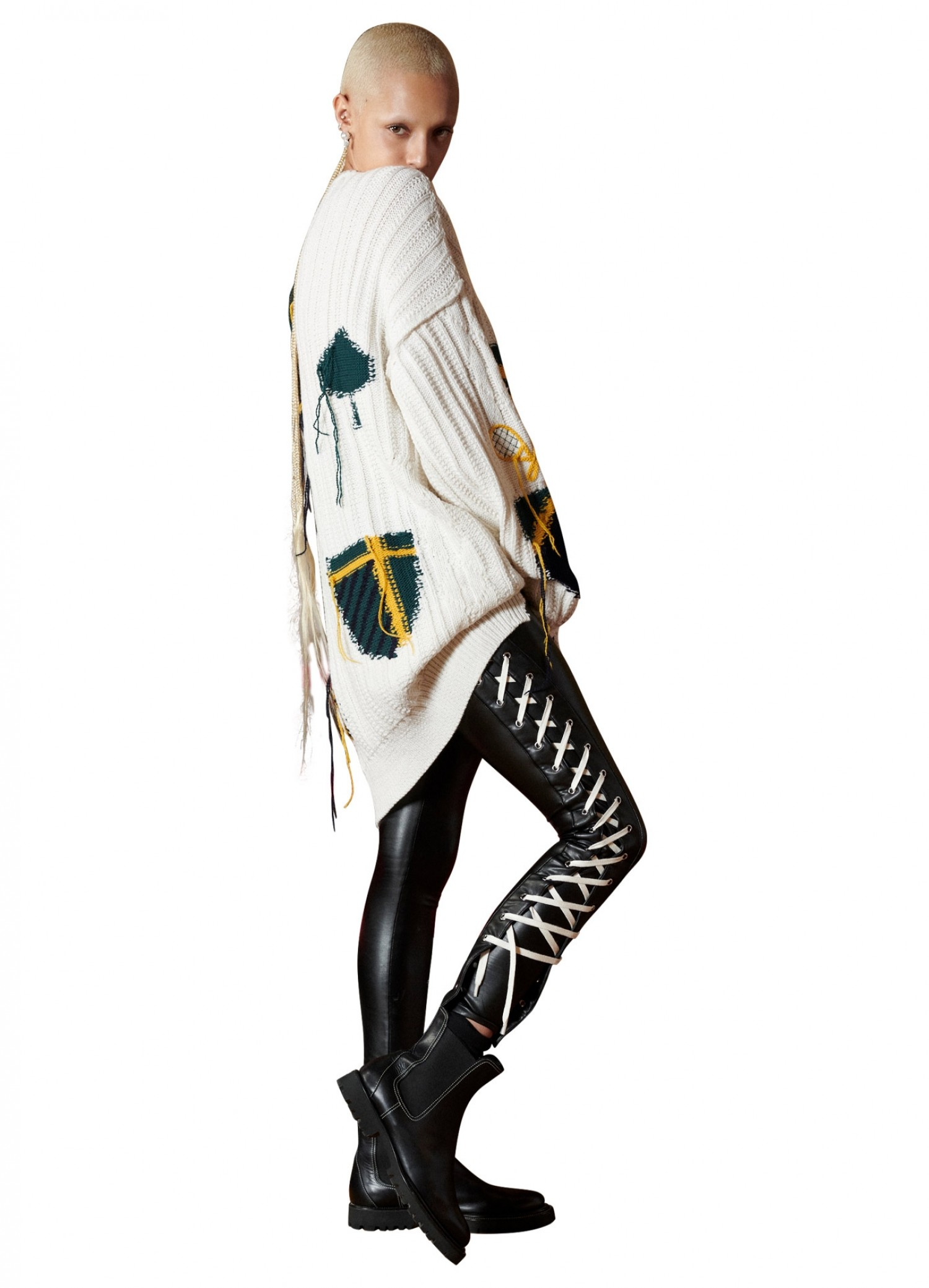MONSE Lace Up Faux Leather Legging on Model Full Side View