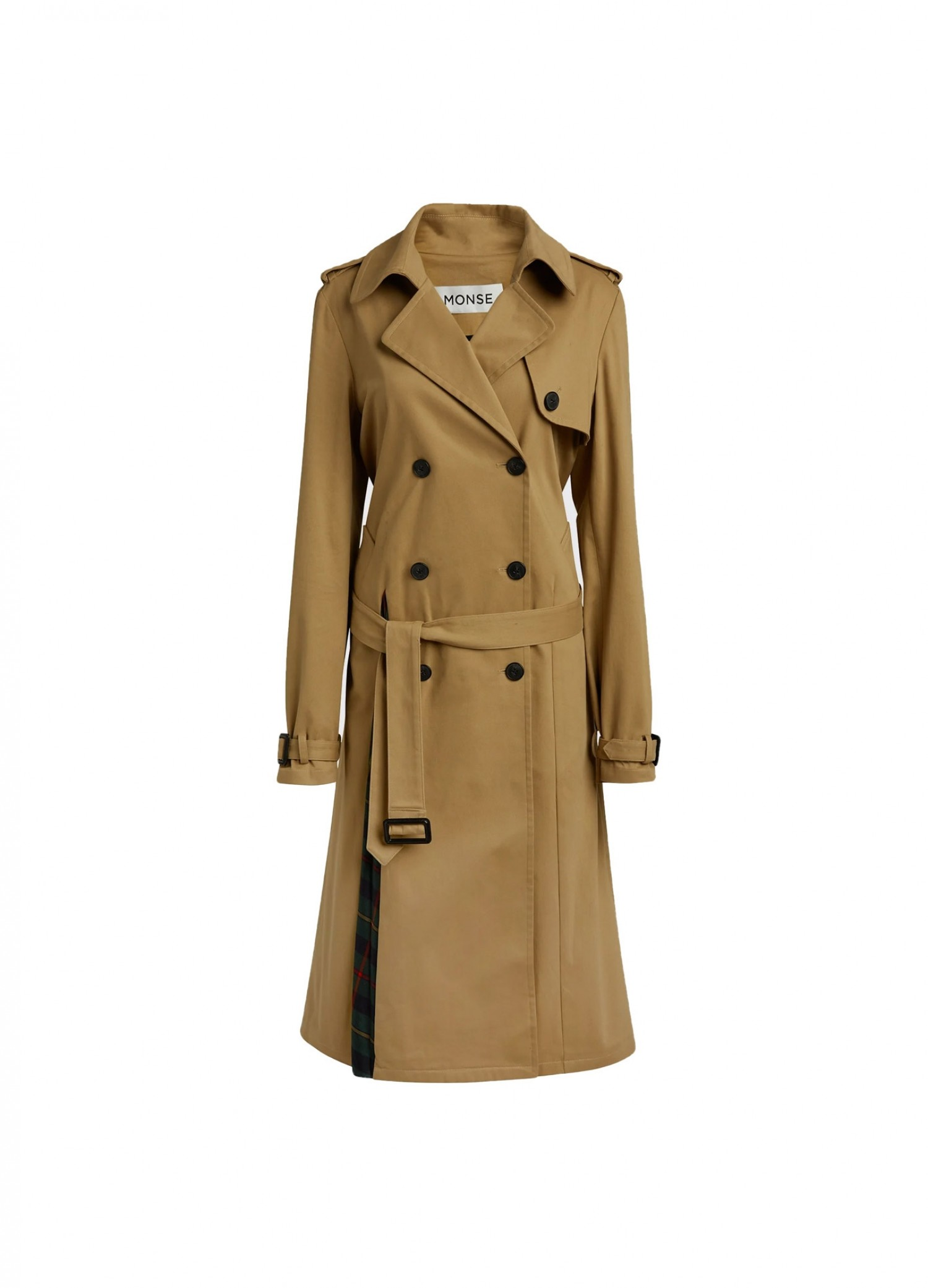 MONSE Multi Tartan Pleated Back Trench Coat Flat Front View