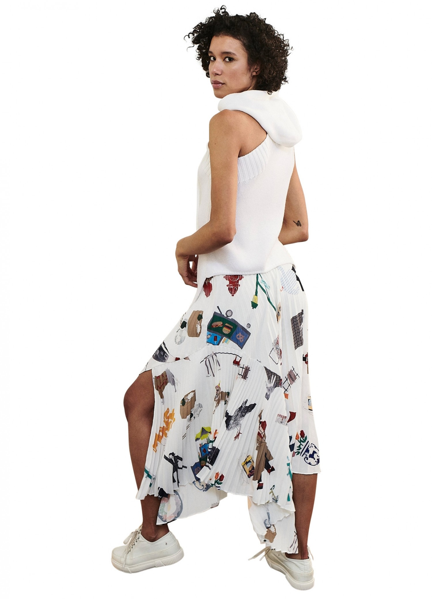 MONSE NYC Scrapbook Pleated Cascade Skirt on Model Back View
