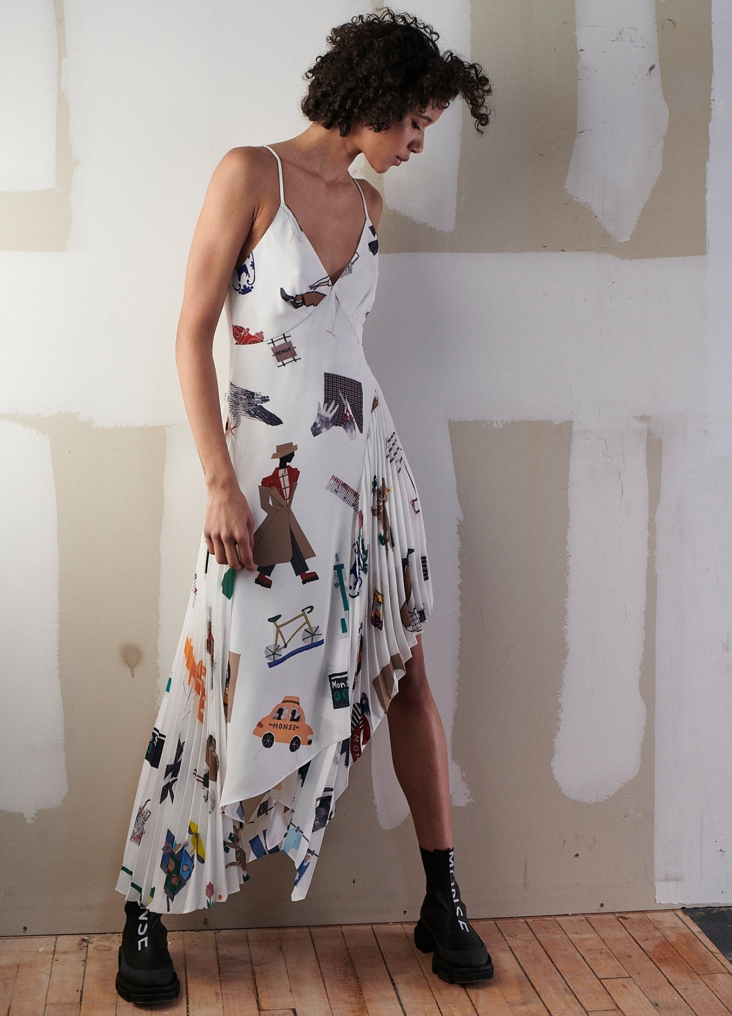 NYC Scrapbook Pleated Slip Dress on Model Front Side View