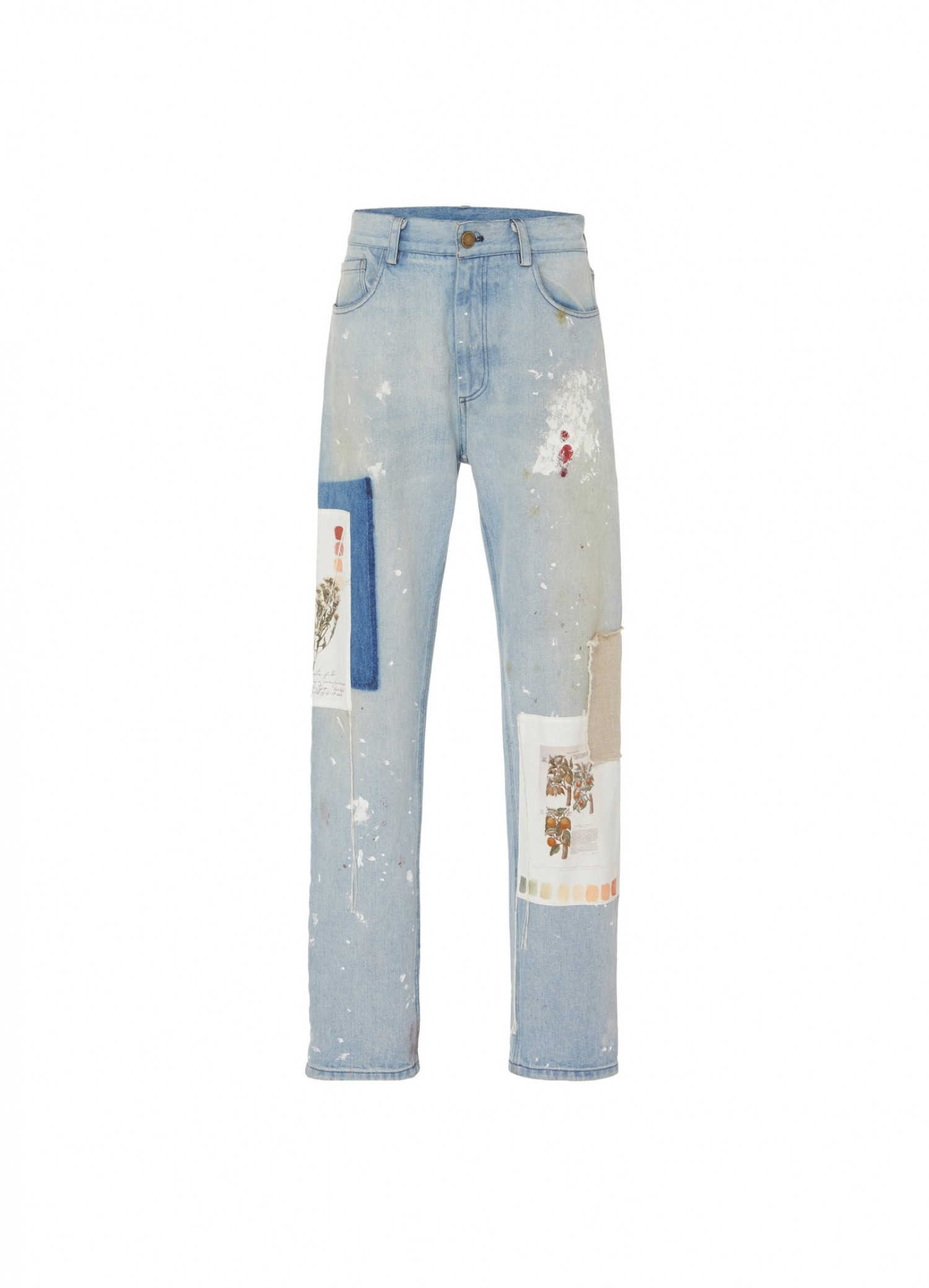 MONSE Paint Splatter and Botanical Patch Jeans Flat Front
