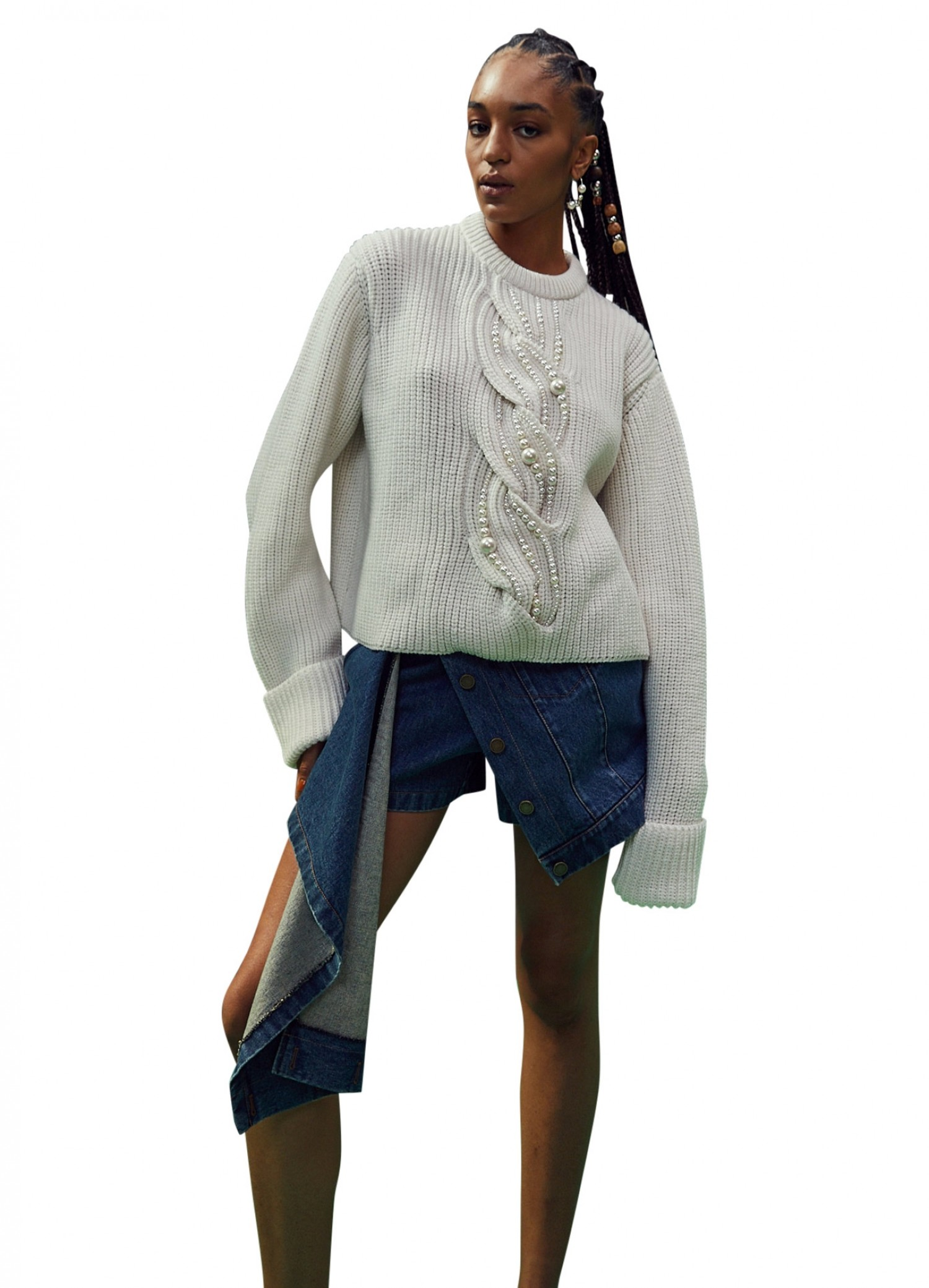 MONSE Pearl Cable Sweater in Ivory on Model with No Background Front