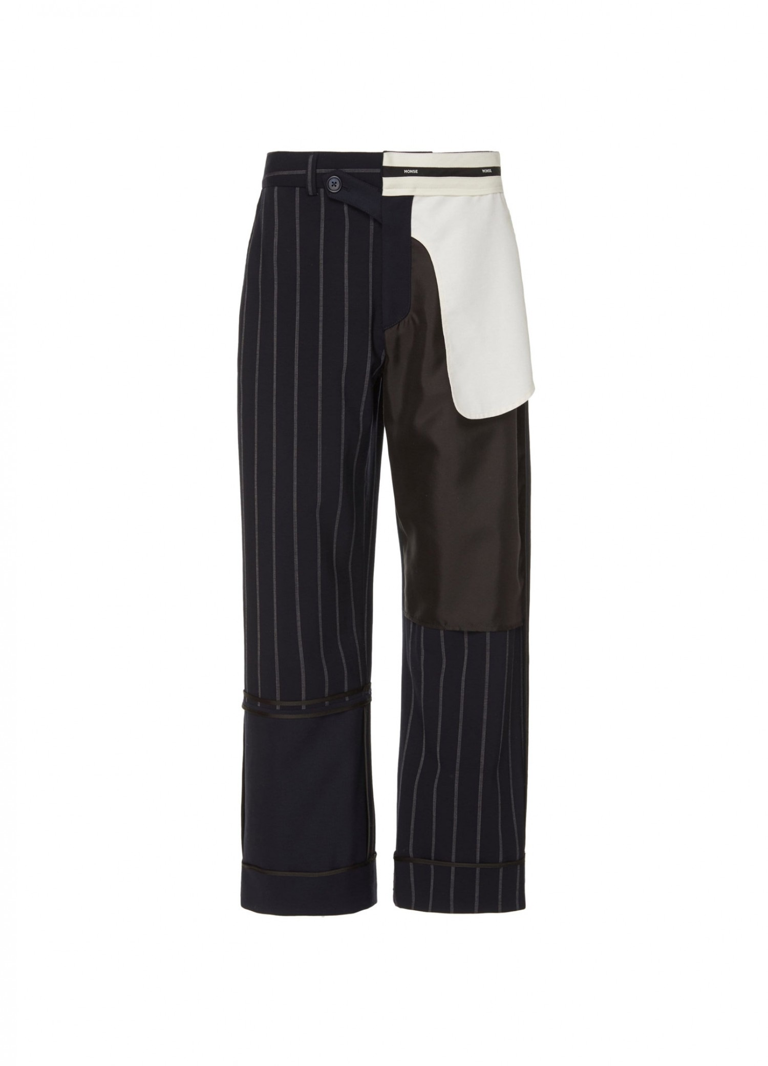 MONSE Pinstripe Inside Out Patchwork Pant Flat Front