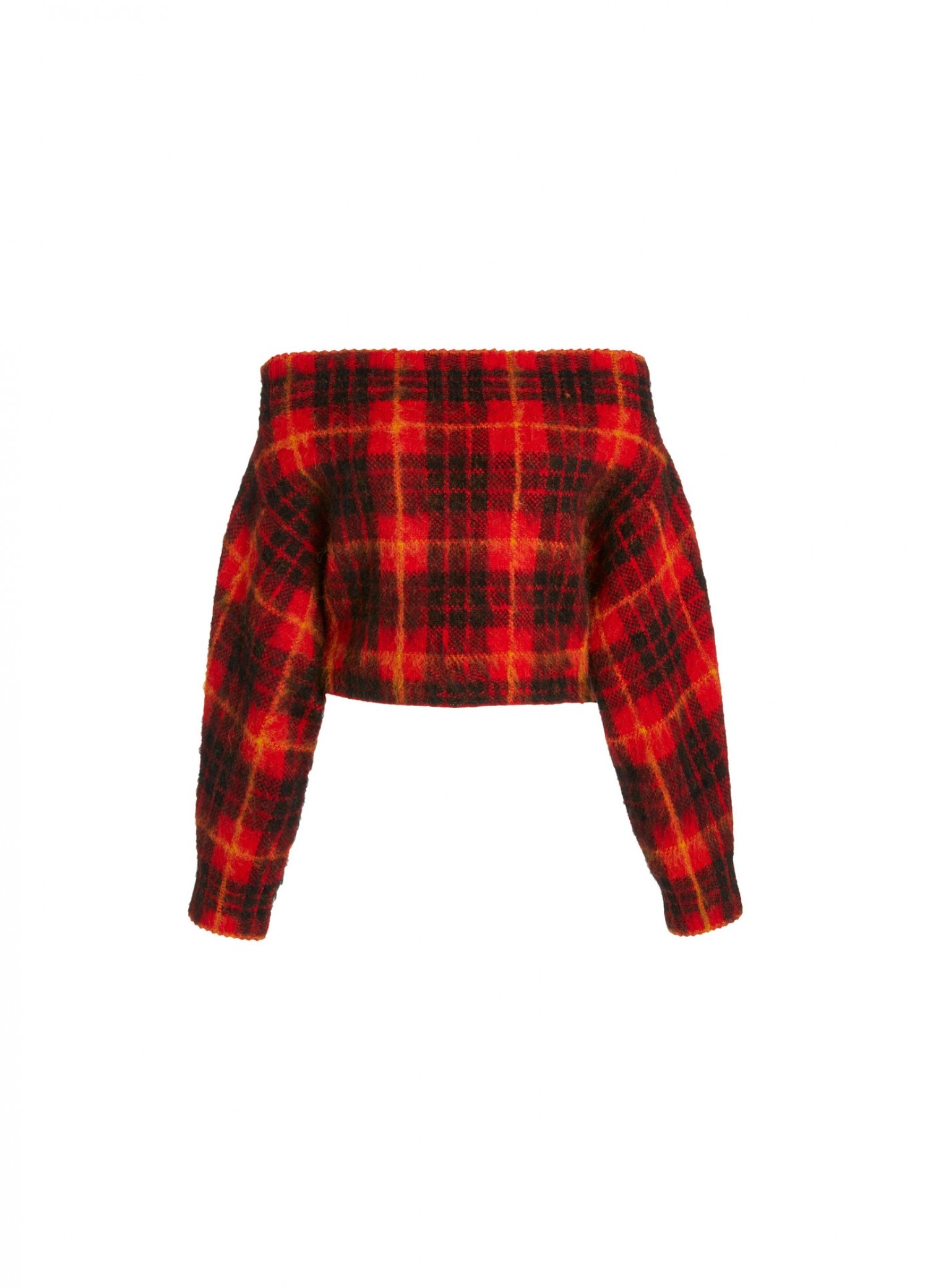 MONSE Plaid Off the Shoulder Mohair Sweater in Scarlet Plaid Multi Flat Front