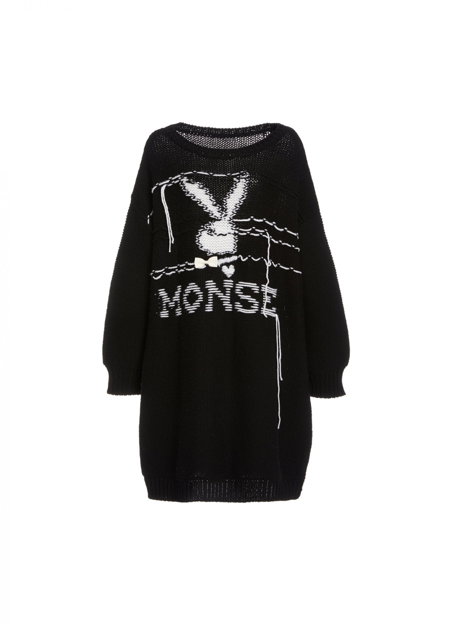 Playboy X MONSE Oversized Knit Dress in Black Front View