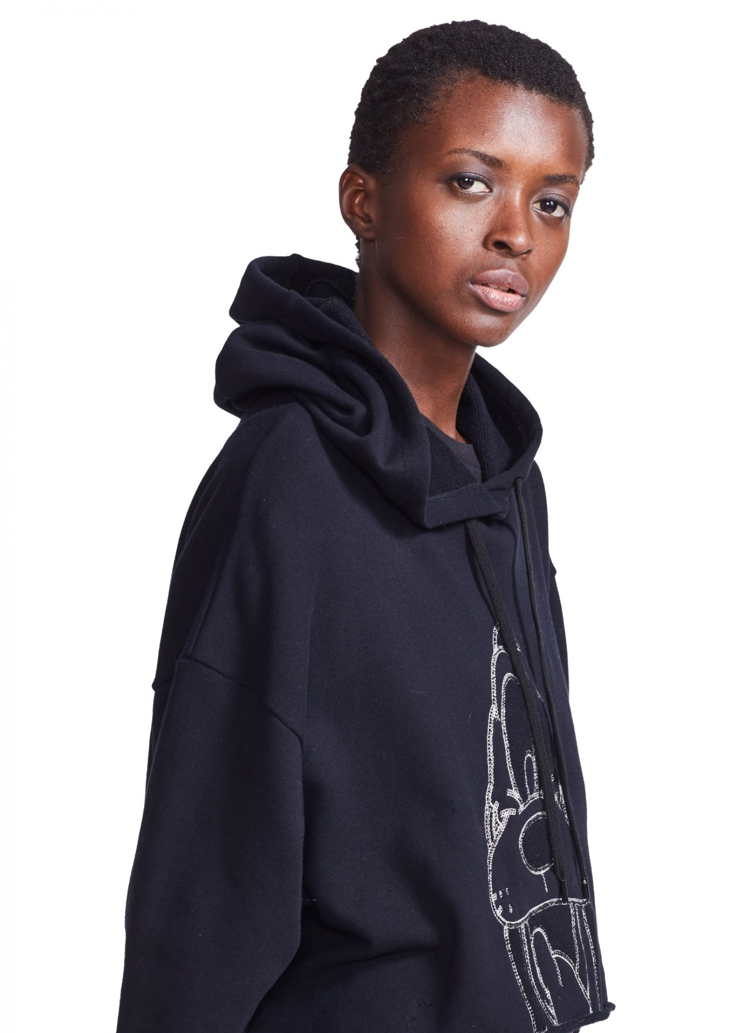MONSE Pluto Cropped Hoodie in Navy on Model in Side Detail