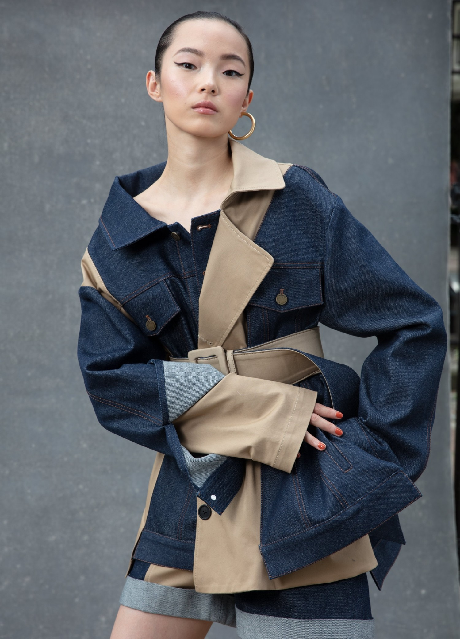 MONSE Belted Trench and Denim Jacket on Model Front View