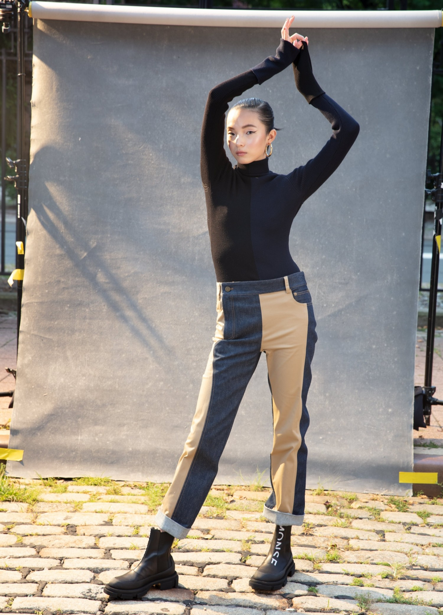 MONSE Ribbed Color Block Turtleneck Knit on Model Front View