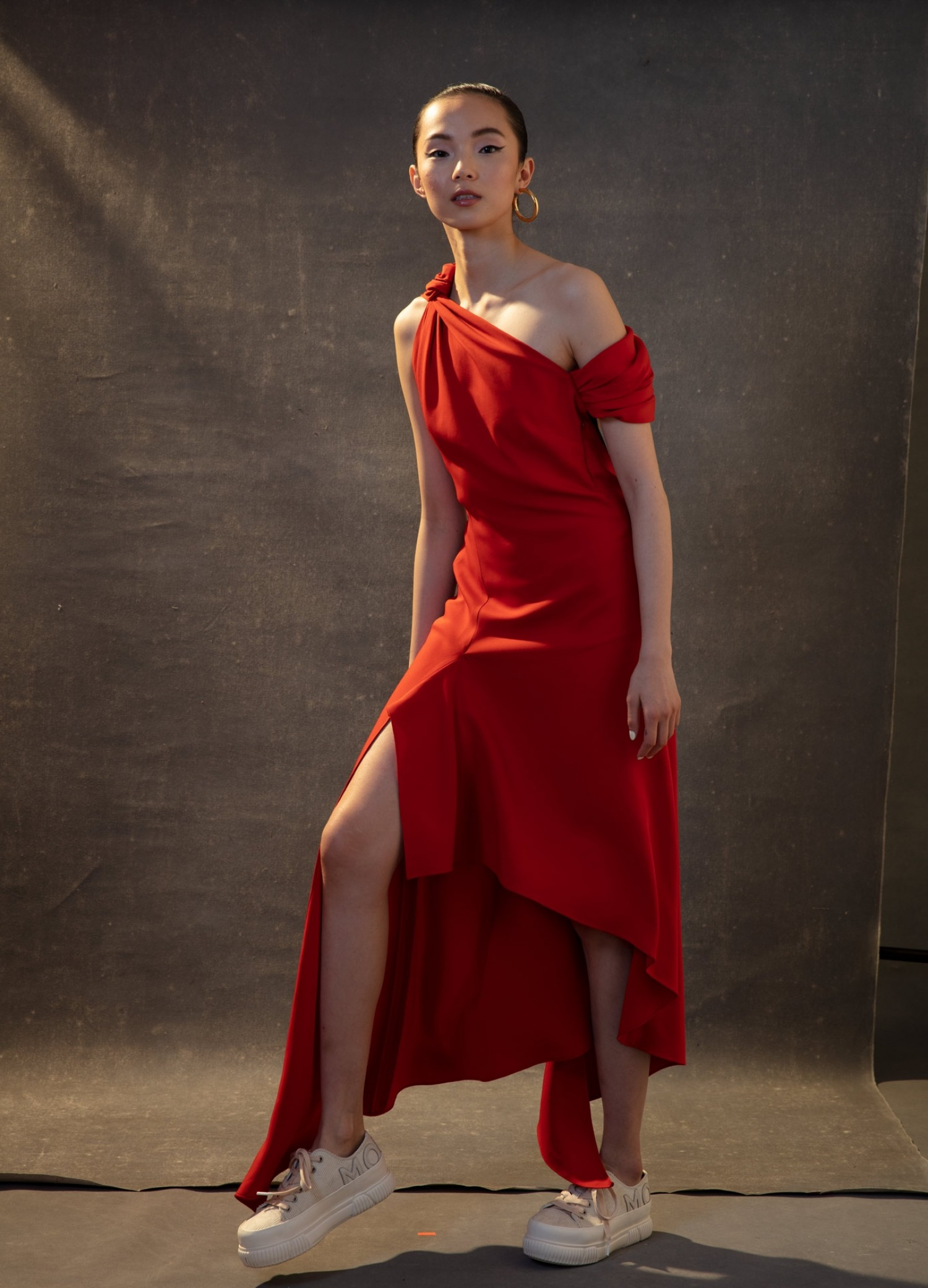 MONSE Knotted Shoulder Drape Dress in Sienna on Model Front View