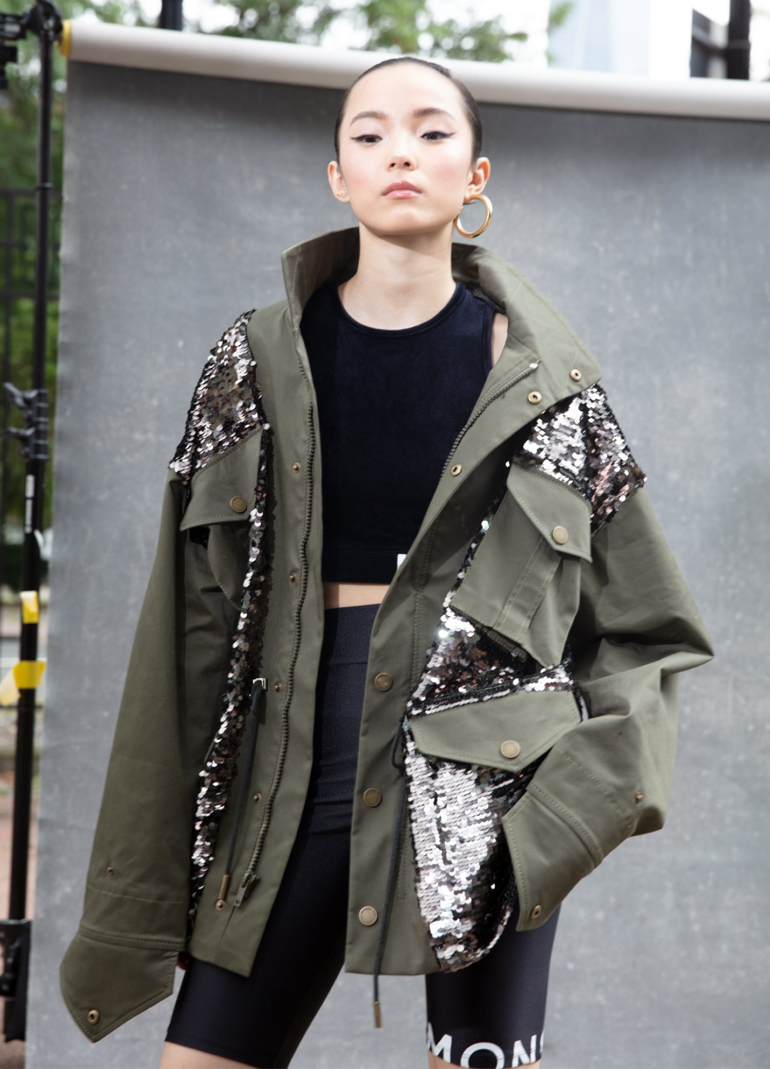 MONSE Sequined Field Jacket in Olive and Taupe on Model Front View