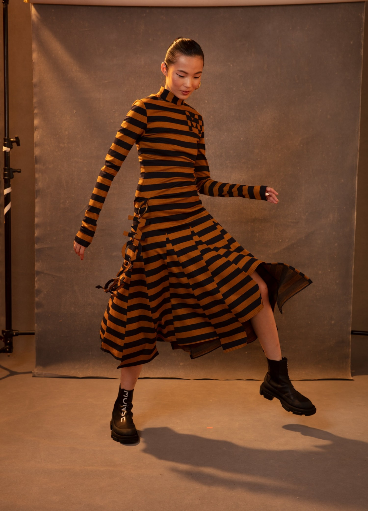 MONSE Stripe Godet Dress in Tan and Midnight on Model Front View