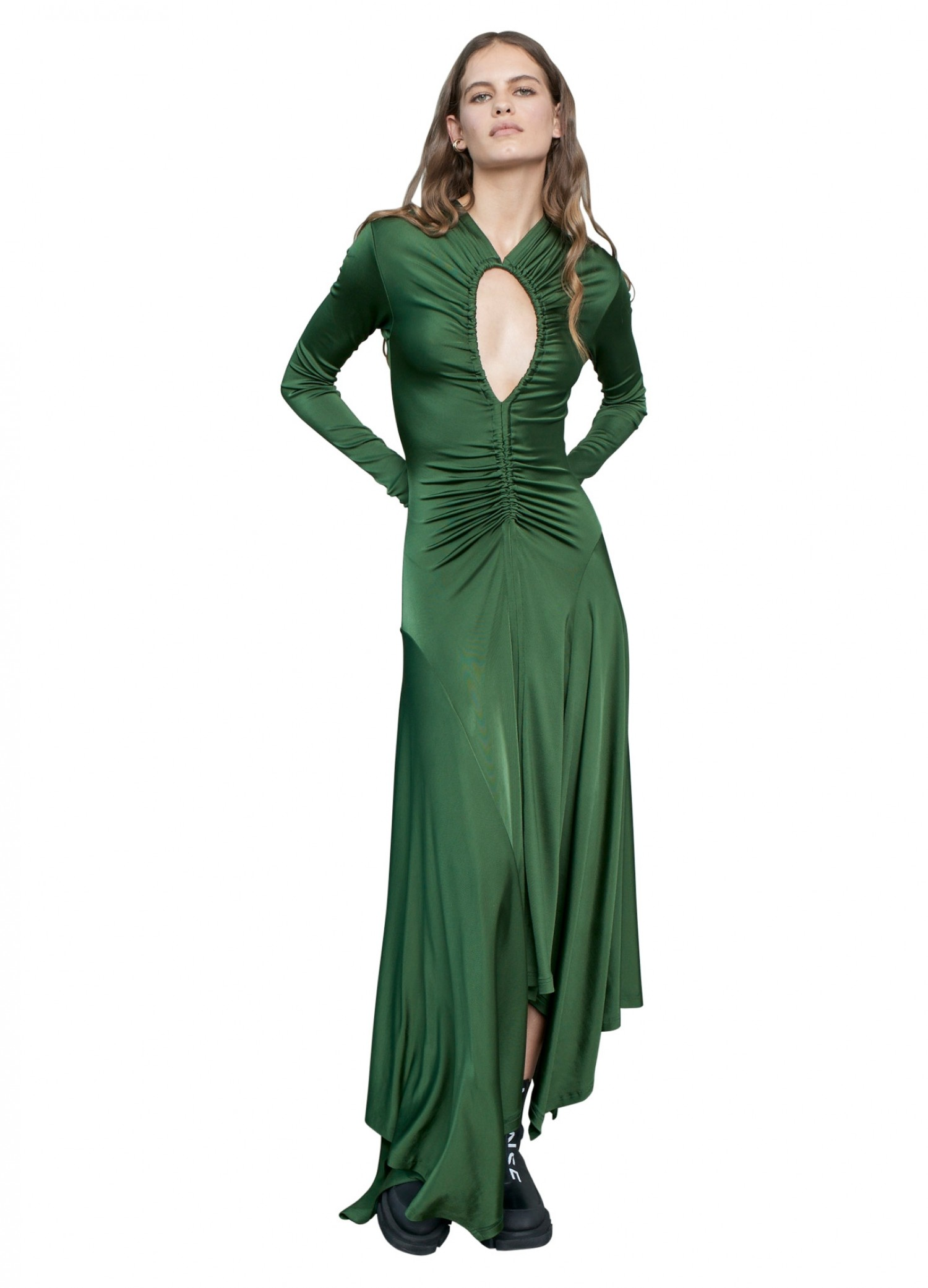 MONSE Ruched Teardrop Jersey Dress on Model Full Front View