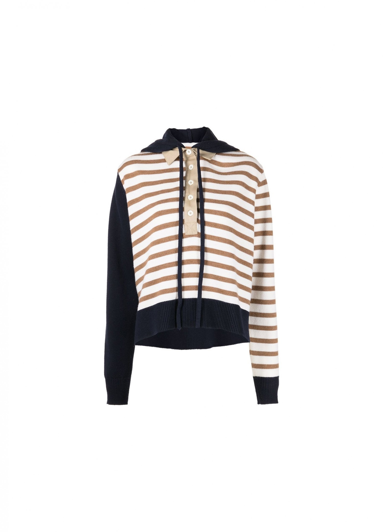 MONSE Rugby Striped Knit Hoodie Flat Front