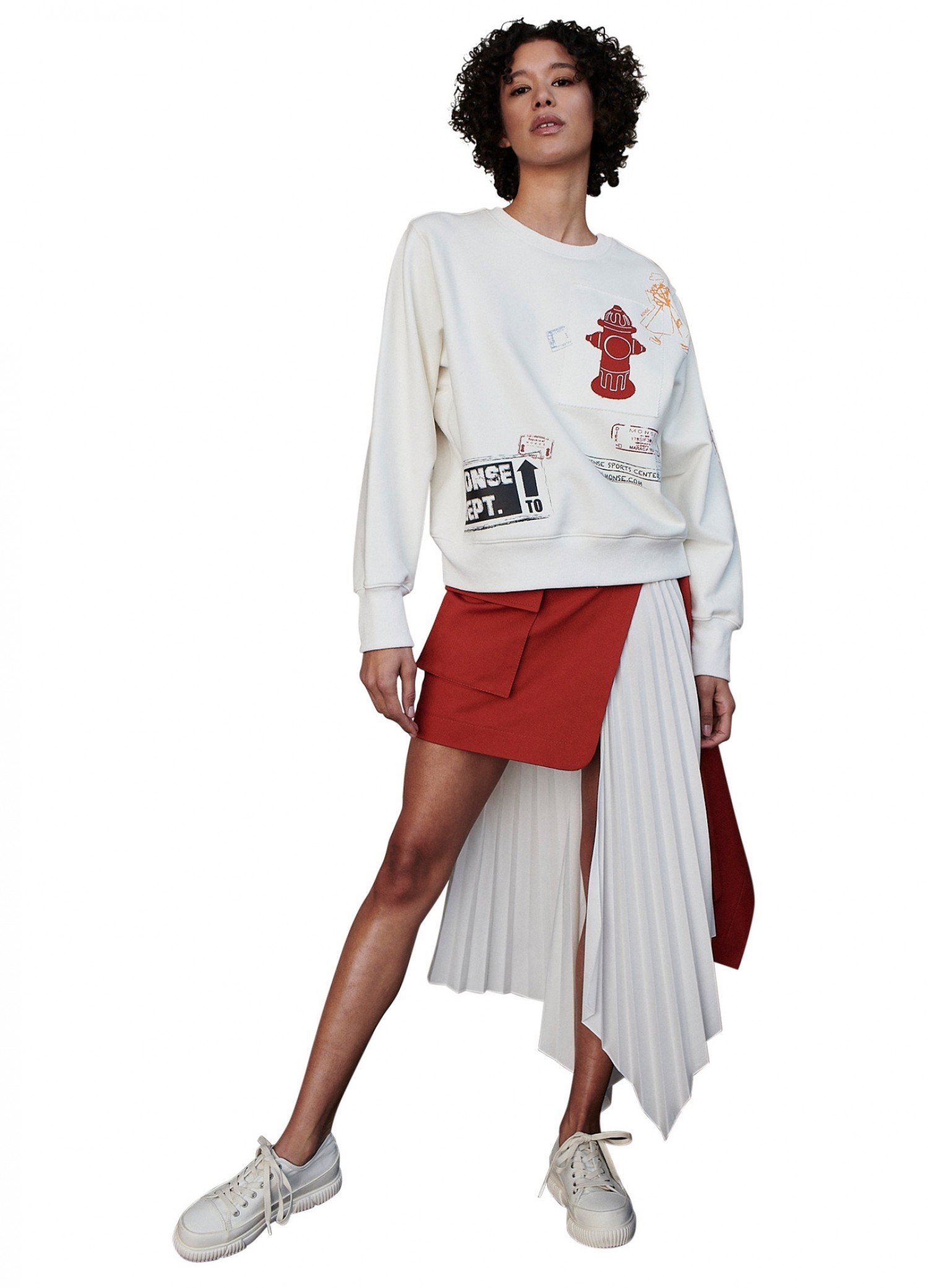 MONSE Scrapbook Pullover Sweatshirt in Ivory on Model Full Front View