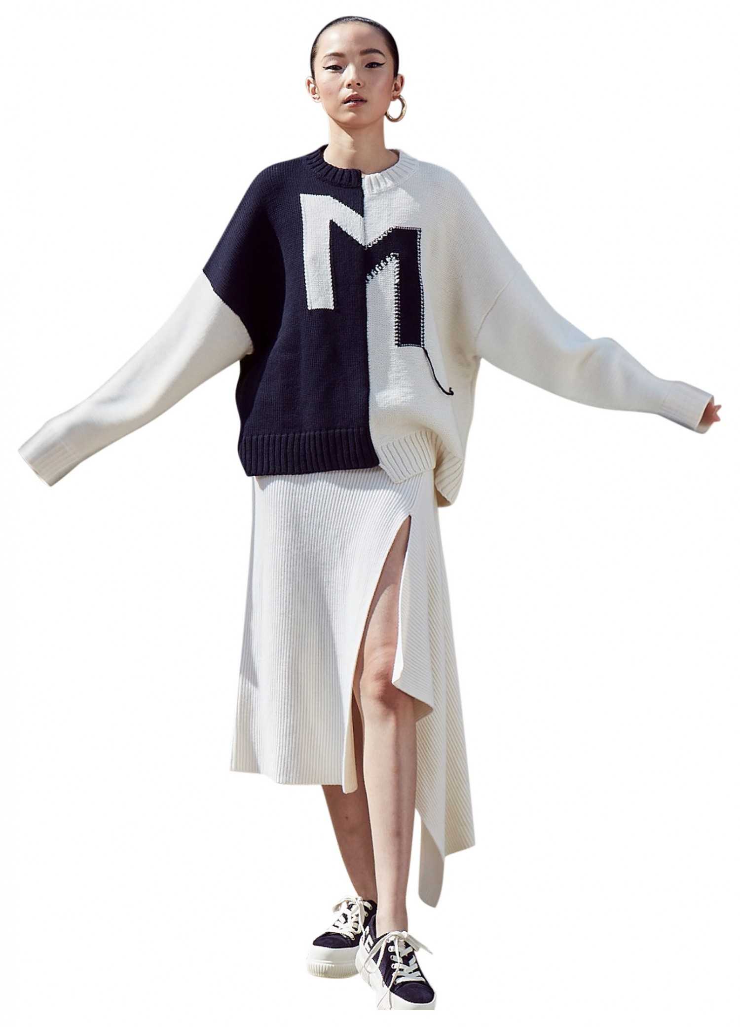 MONSE Sliced Ribbed Knit Skirt in Ivory on Model Front View
