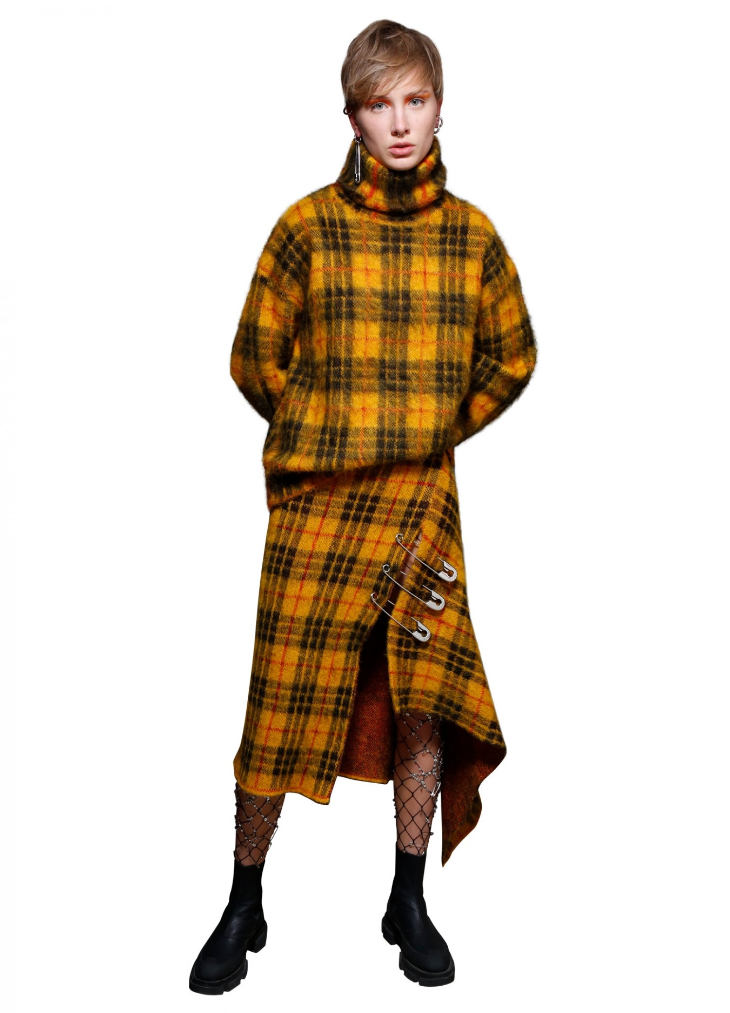 MONSE Tartan Mohair Skirt in Mustard Multi on Model Front View
