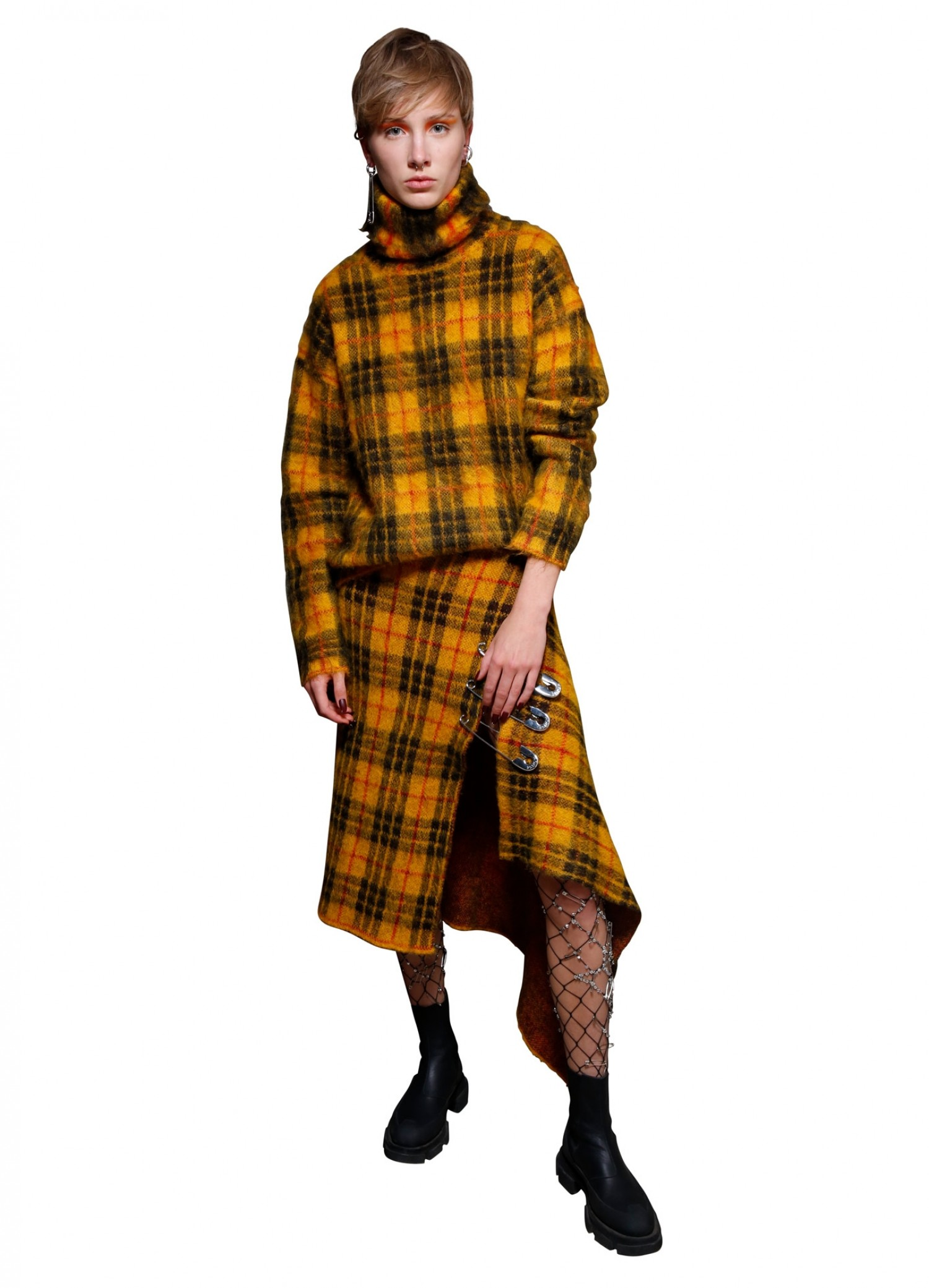 MONSE Plaid Mohair Turtleneck in Mustard Multi on Model Front View