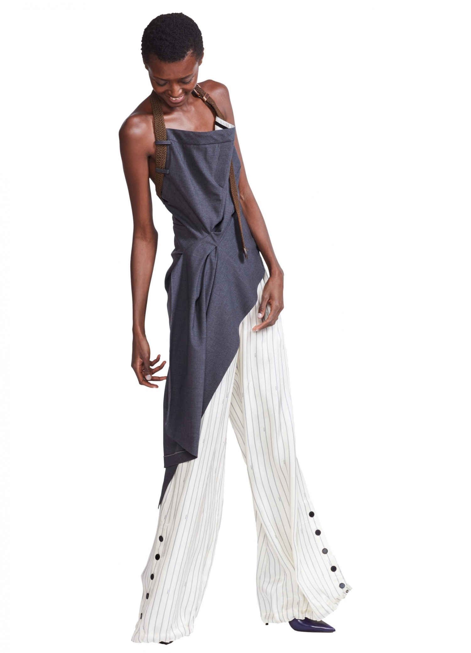 MONSE Trouser Draped Top on Model Side View