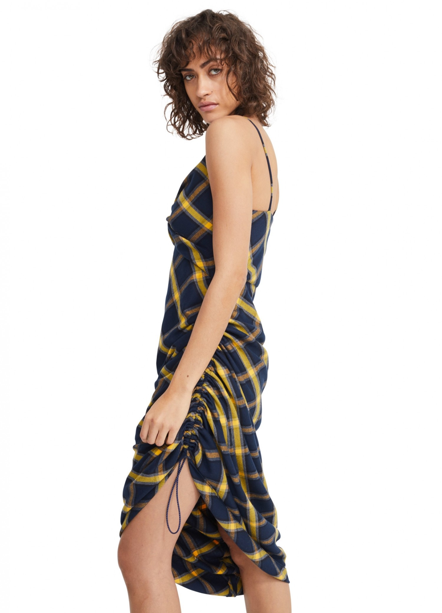 MONSE Twisted Plaid Slip Dress in Midnight and Yellow on Model Side View