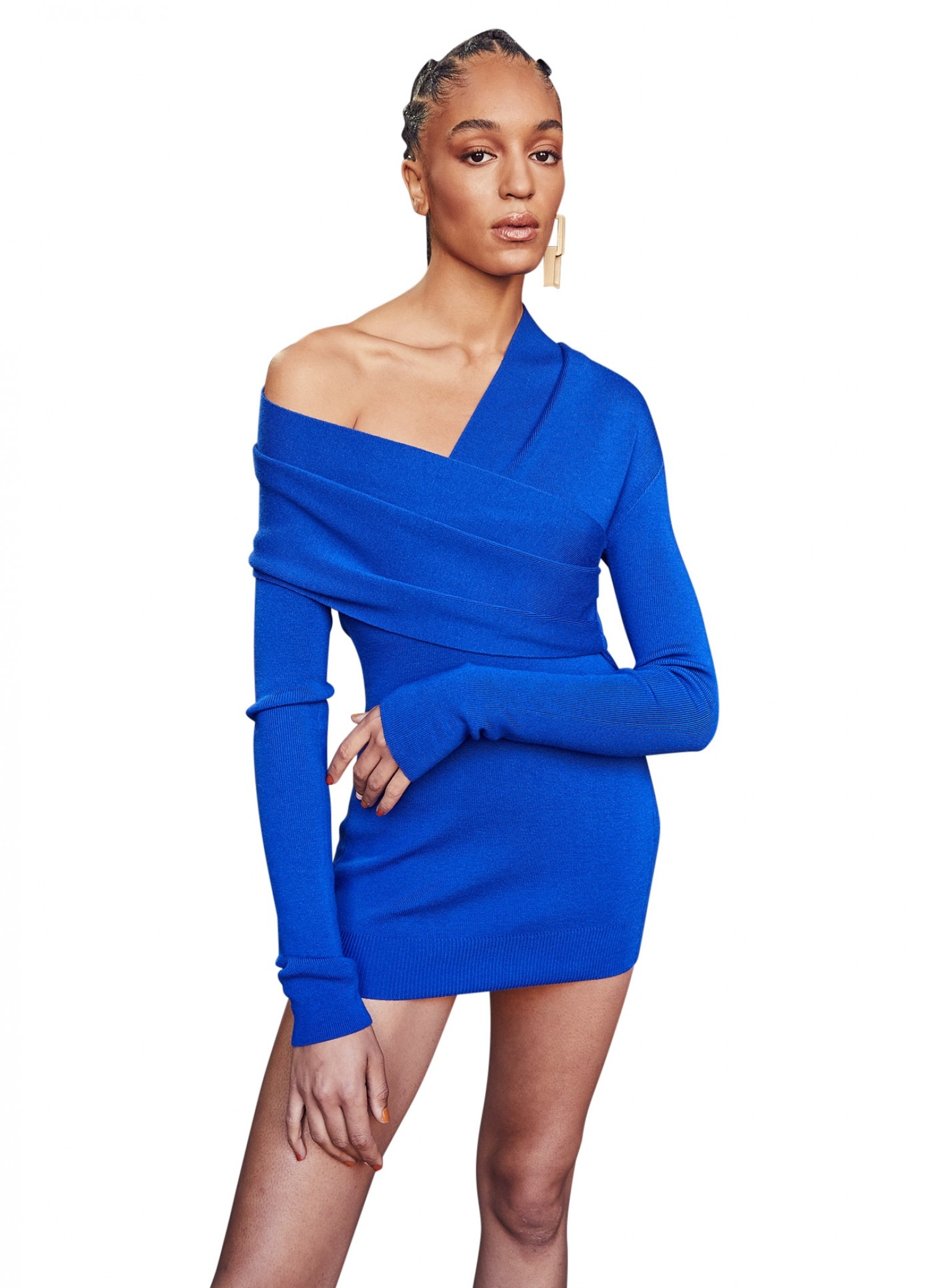 MONSE Twisted Wrap Collar Knit Mini Dress in Electric Blue on Model No Background Front