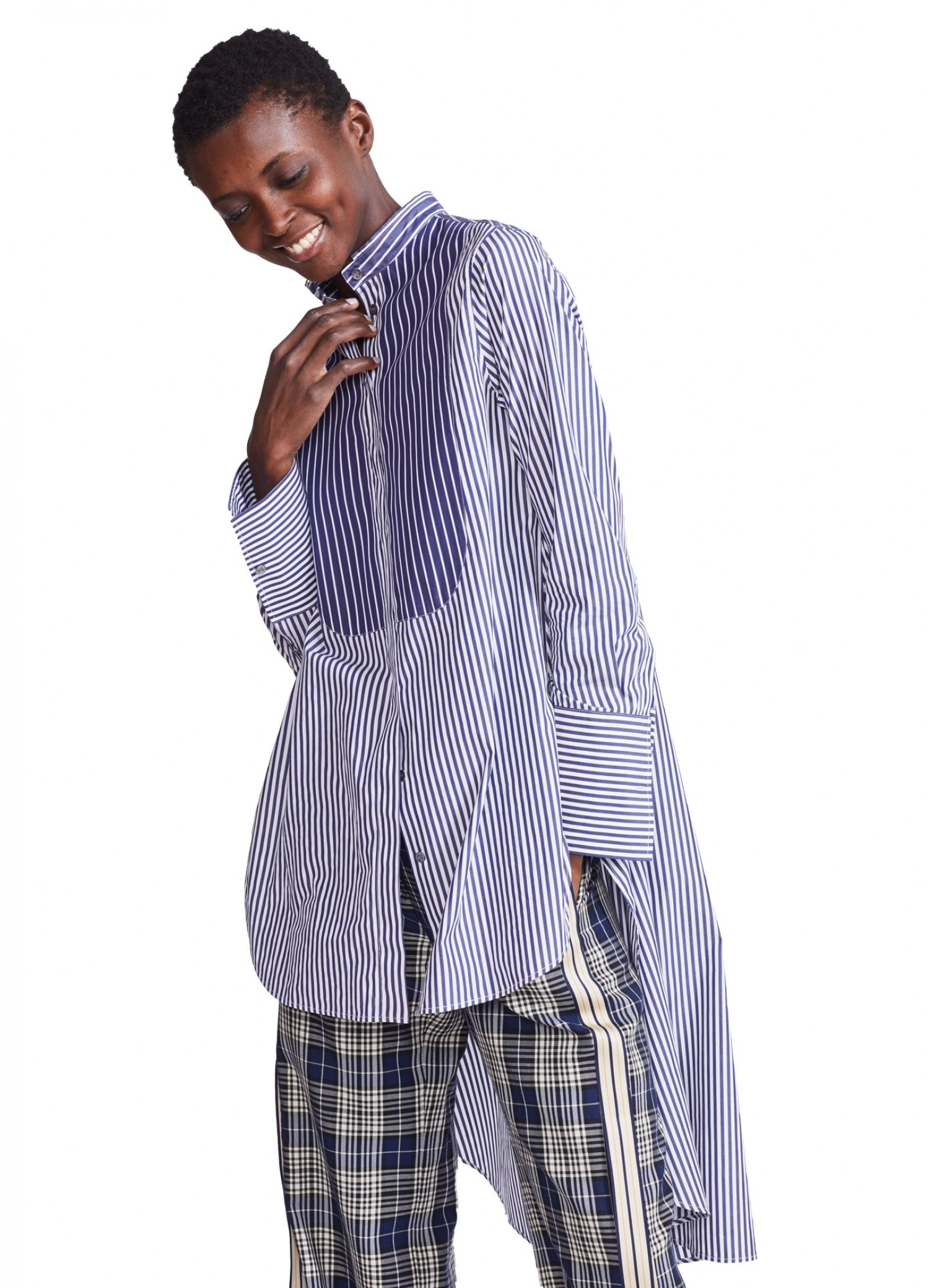 MONSE Typewriter Stripe Shirt on Model Front View