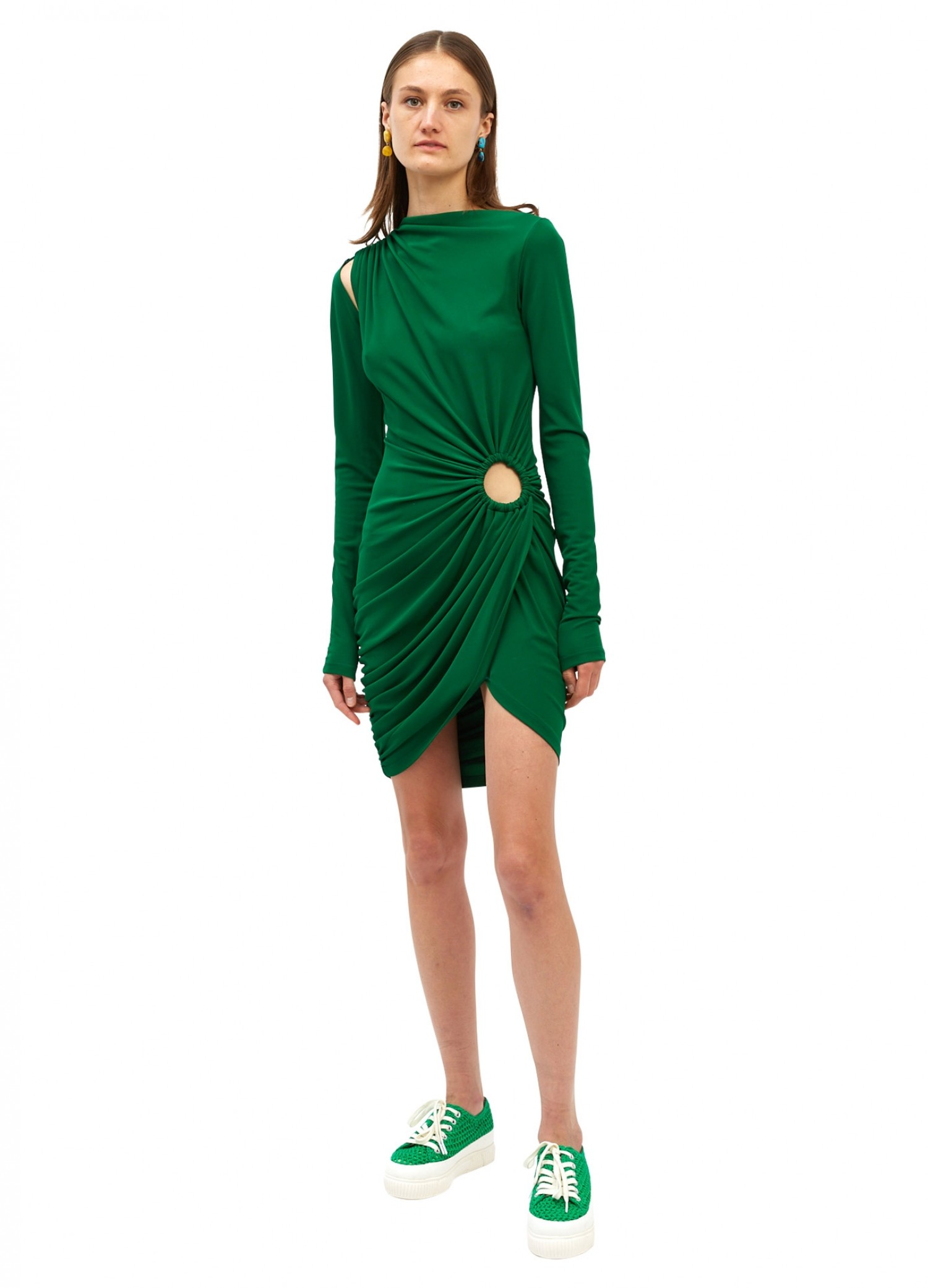 MONSE Vortex Long Sleeve Mini Dress in Grass on Model Front View