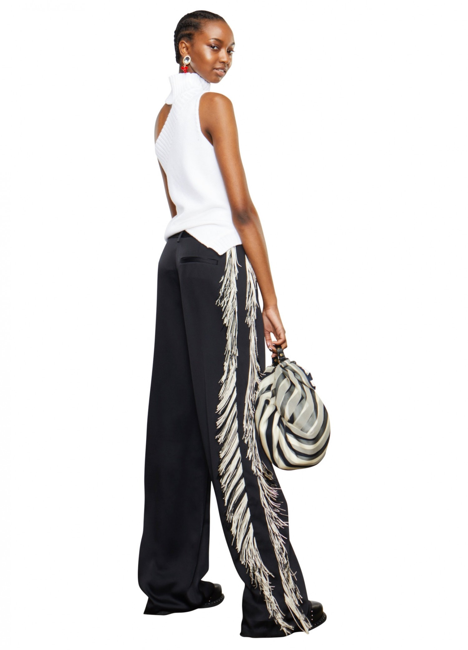 MONSE Satin Fringe Pant on Model Back View