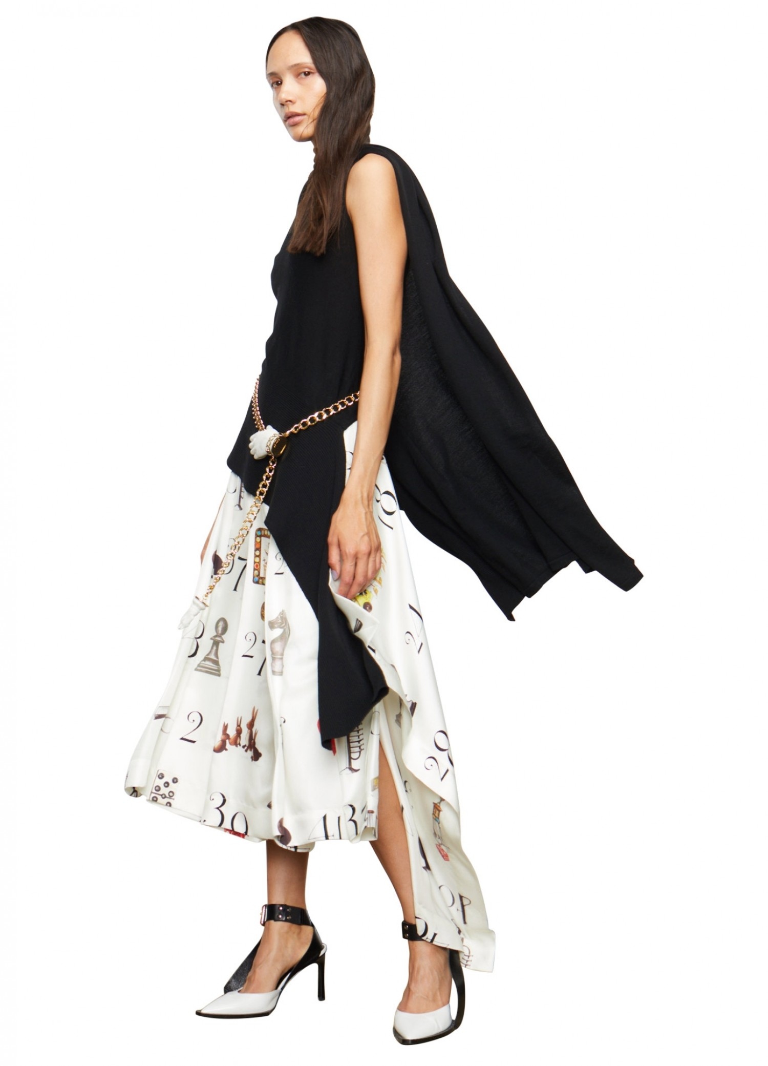 MONSE Numbers Print Pleated Skirt on Model Side View