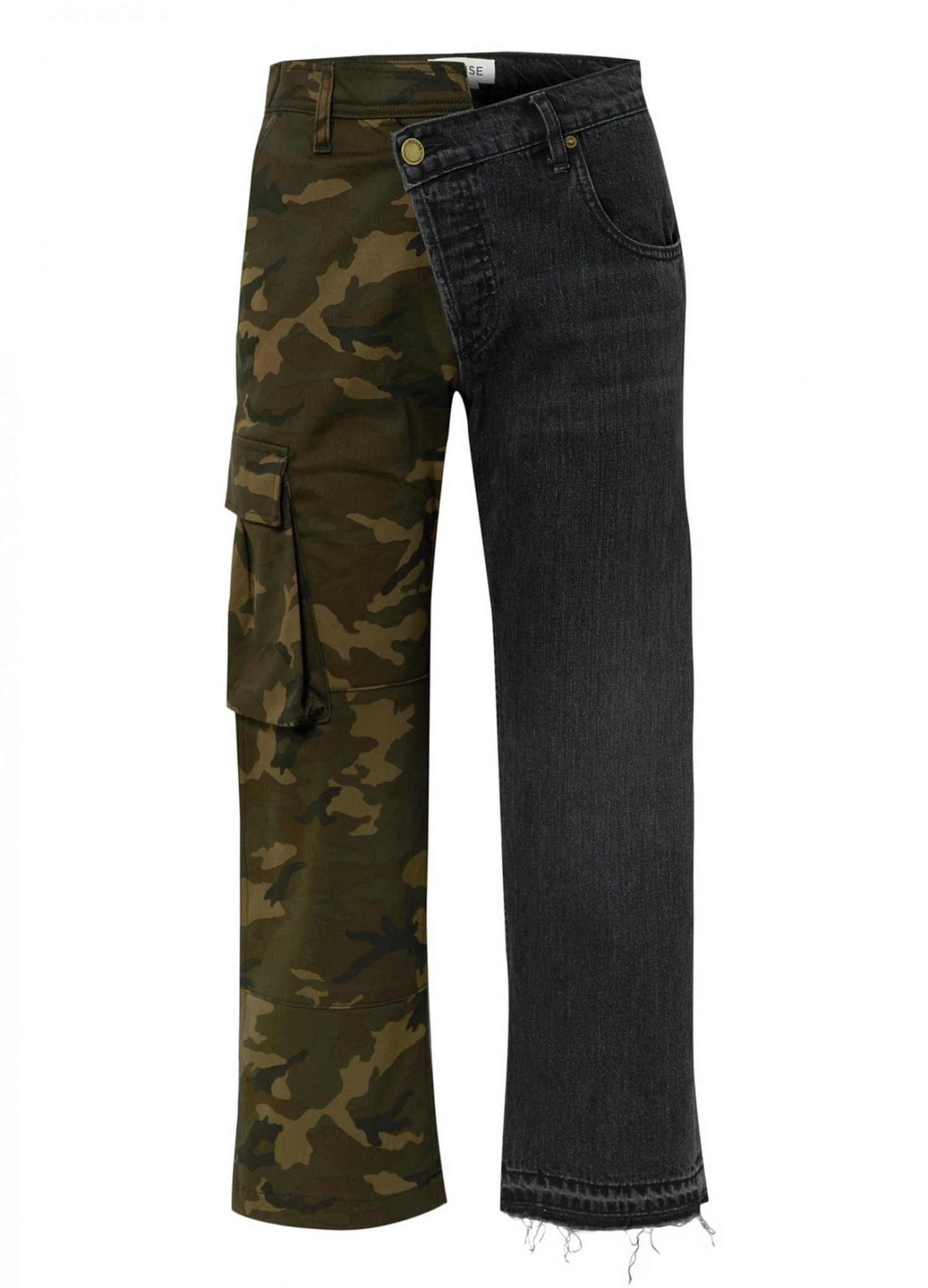 Split-Leg Camo Cargo and Dark Denim Straight-Leg Pants Front
