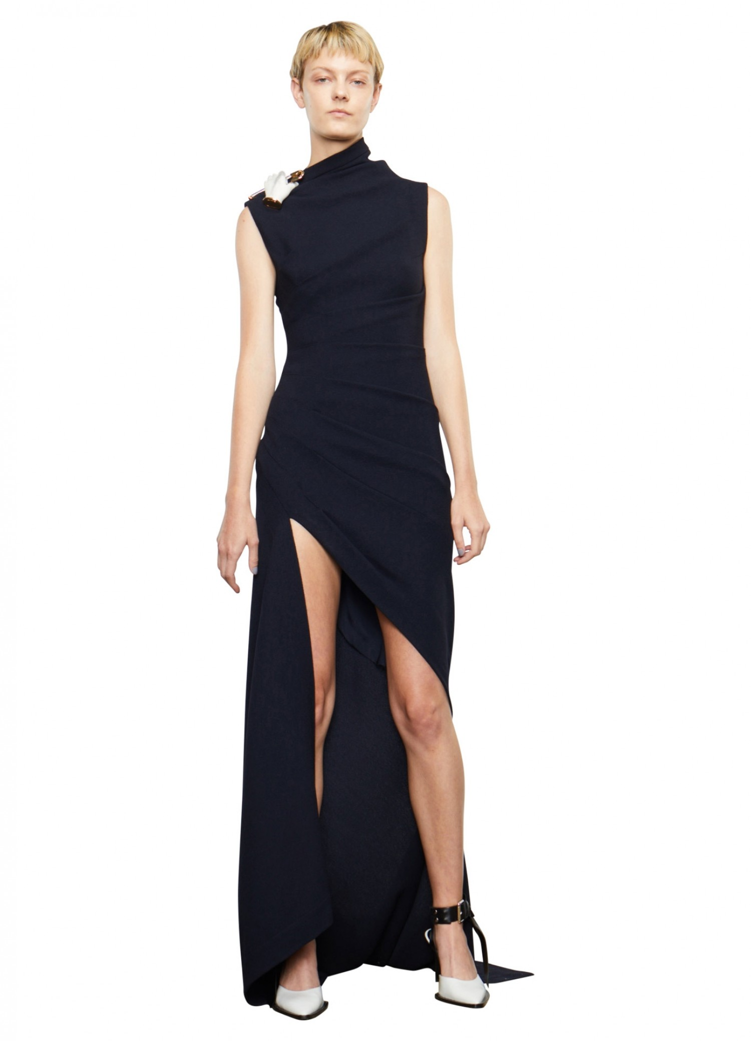 MONSE Wool Sleeveless Dress on Model Front View