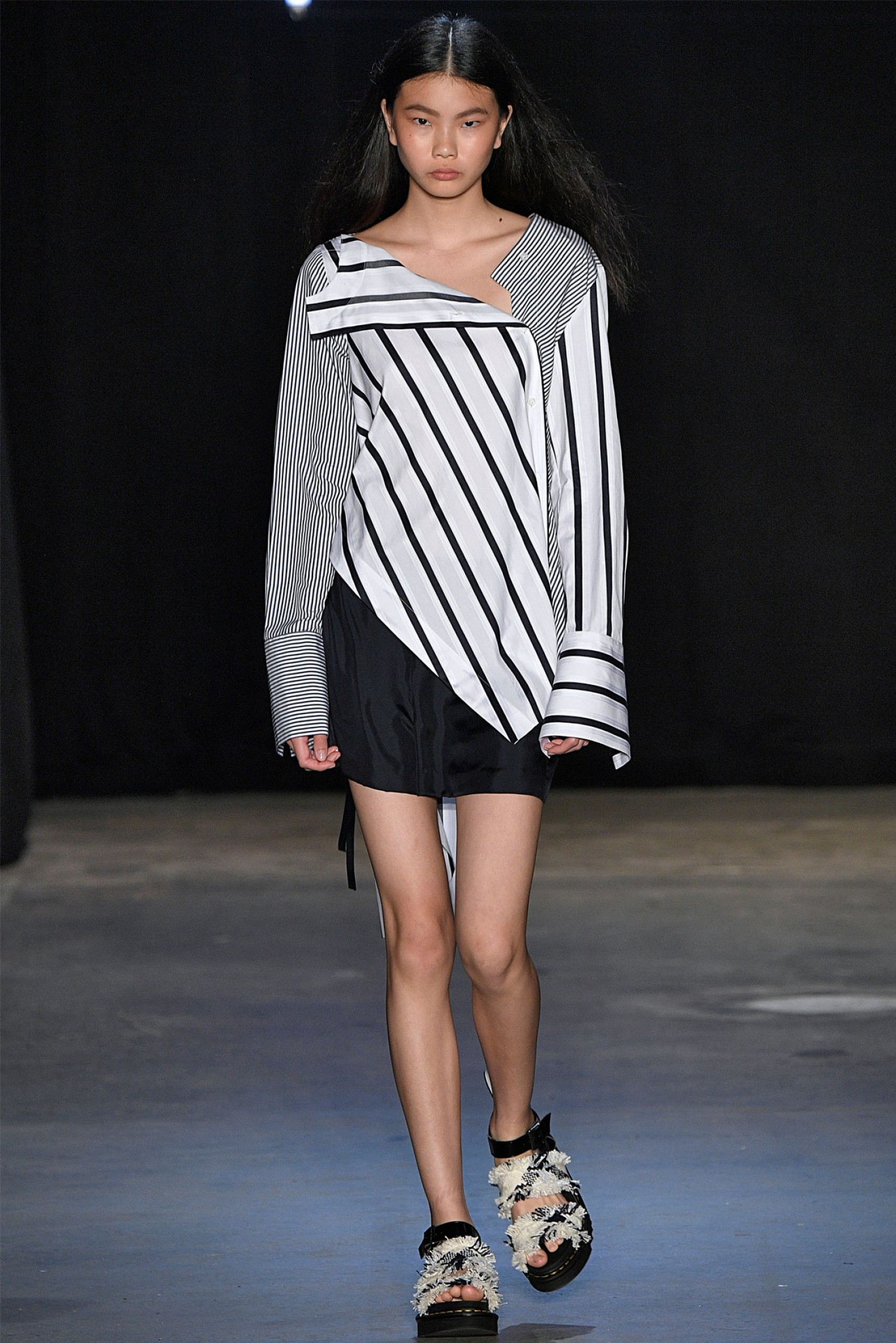 MONSE Falling Contrast Stripes Shirt on Model Runway View