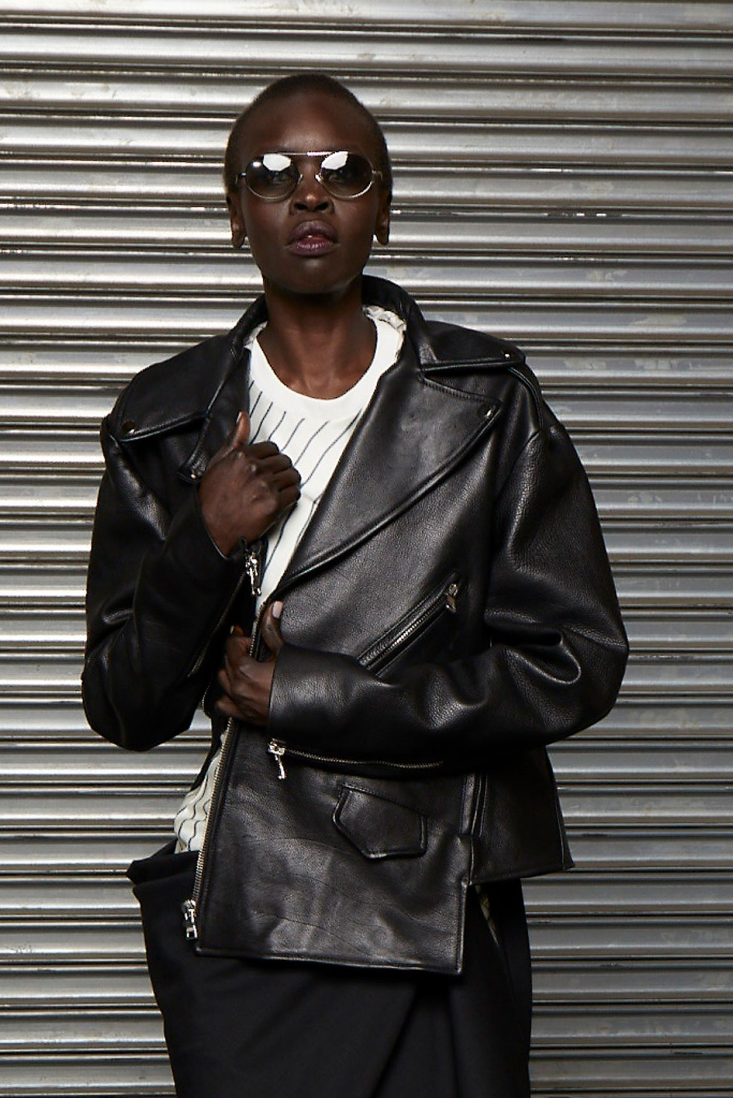 MONSE Twisted Leather Biker Jacket on Model Detail View