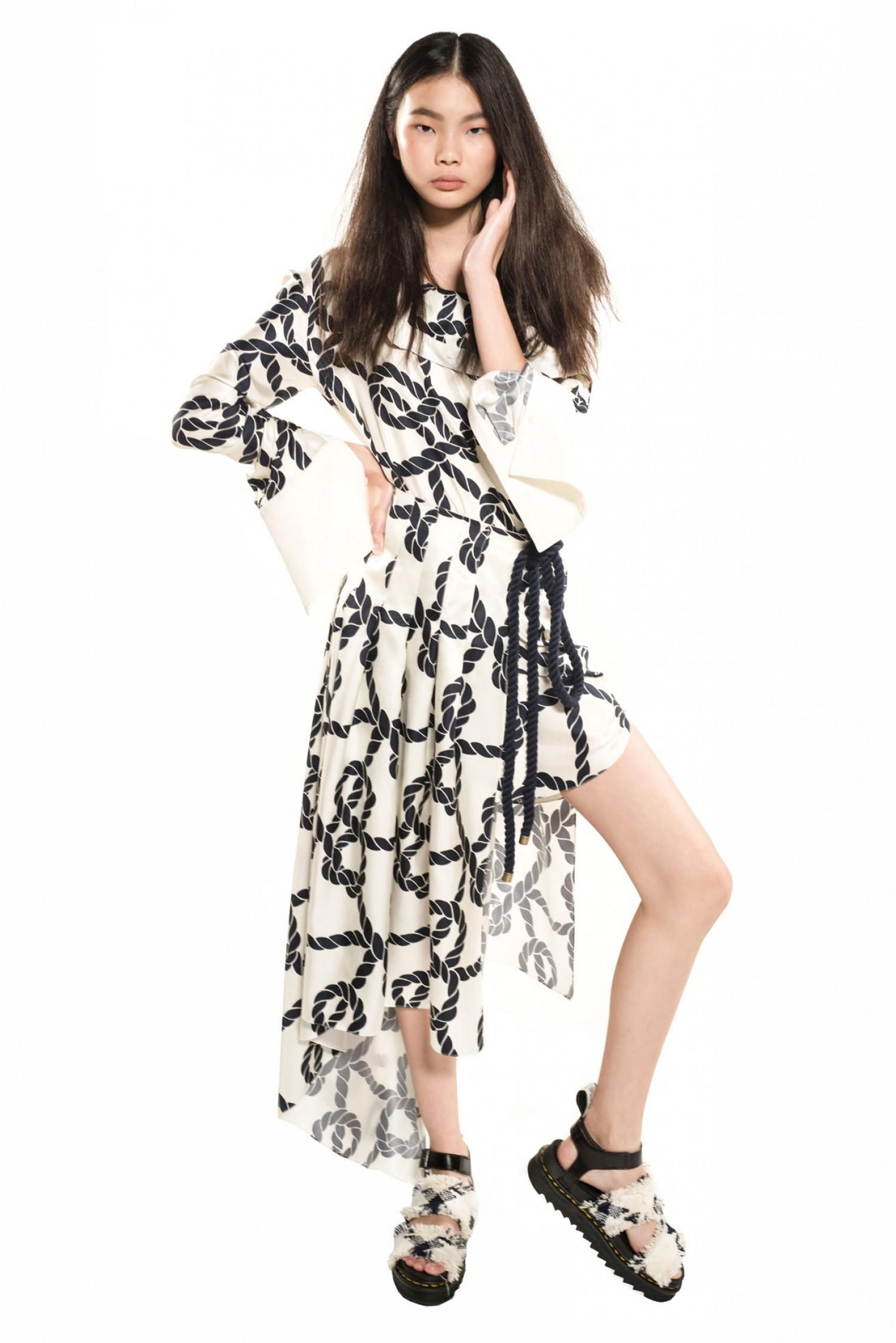 eb714f661c6 Official Online Store l Rope Print Pleated Skirt-Shirt Dress
