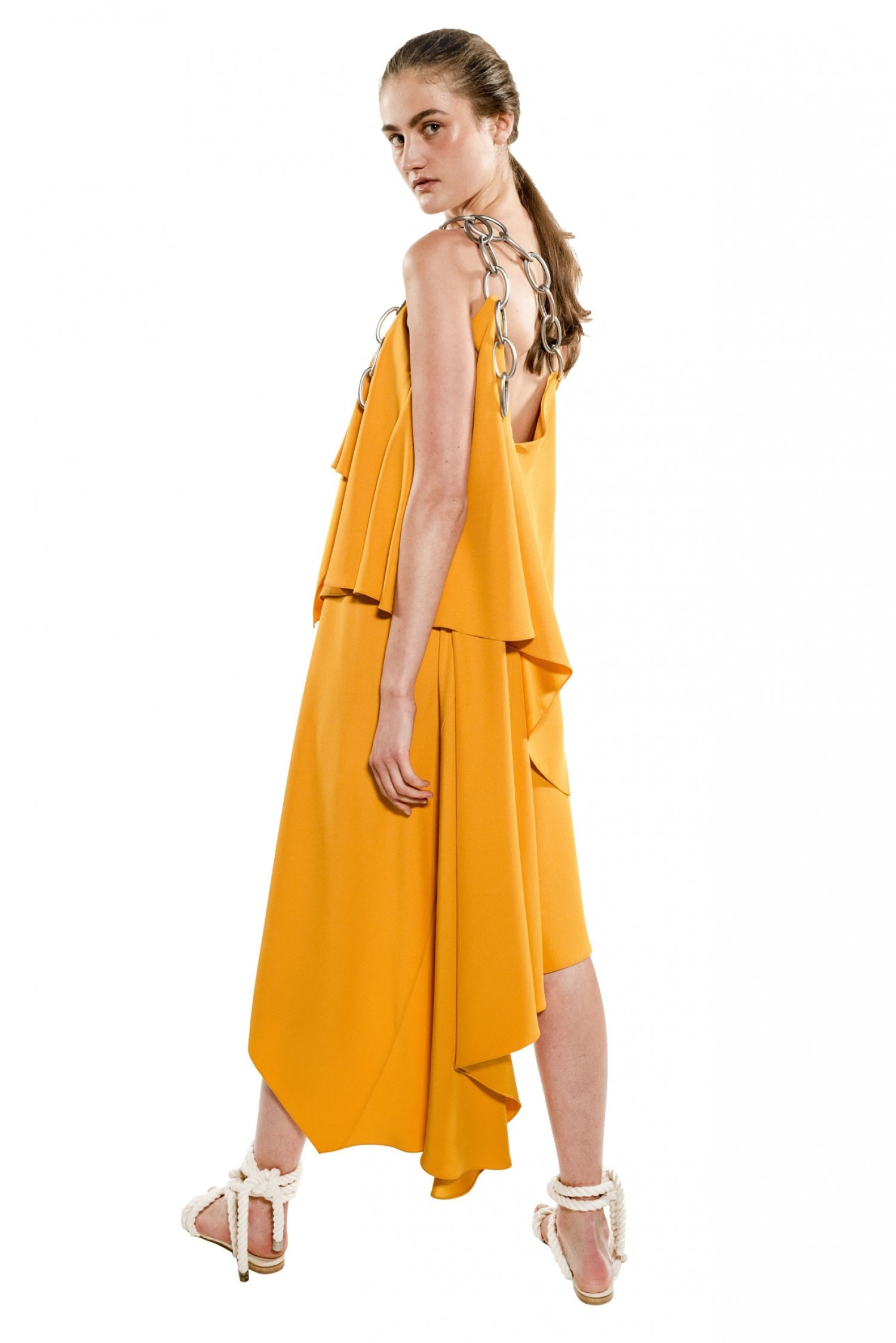 Shoulder Chain Draped Dress