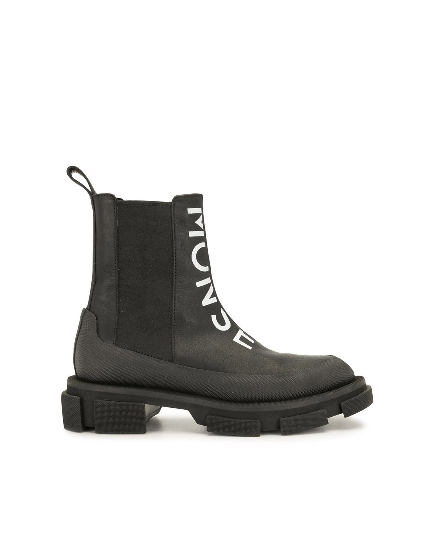 Both X MONSE Chelsea Boots in Black Front Angled View