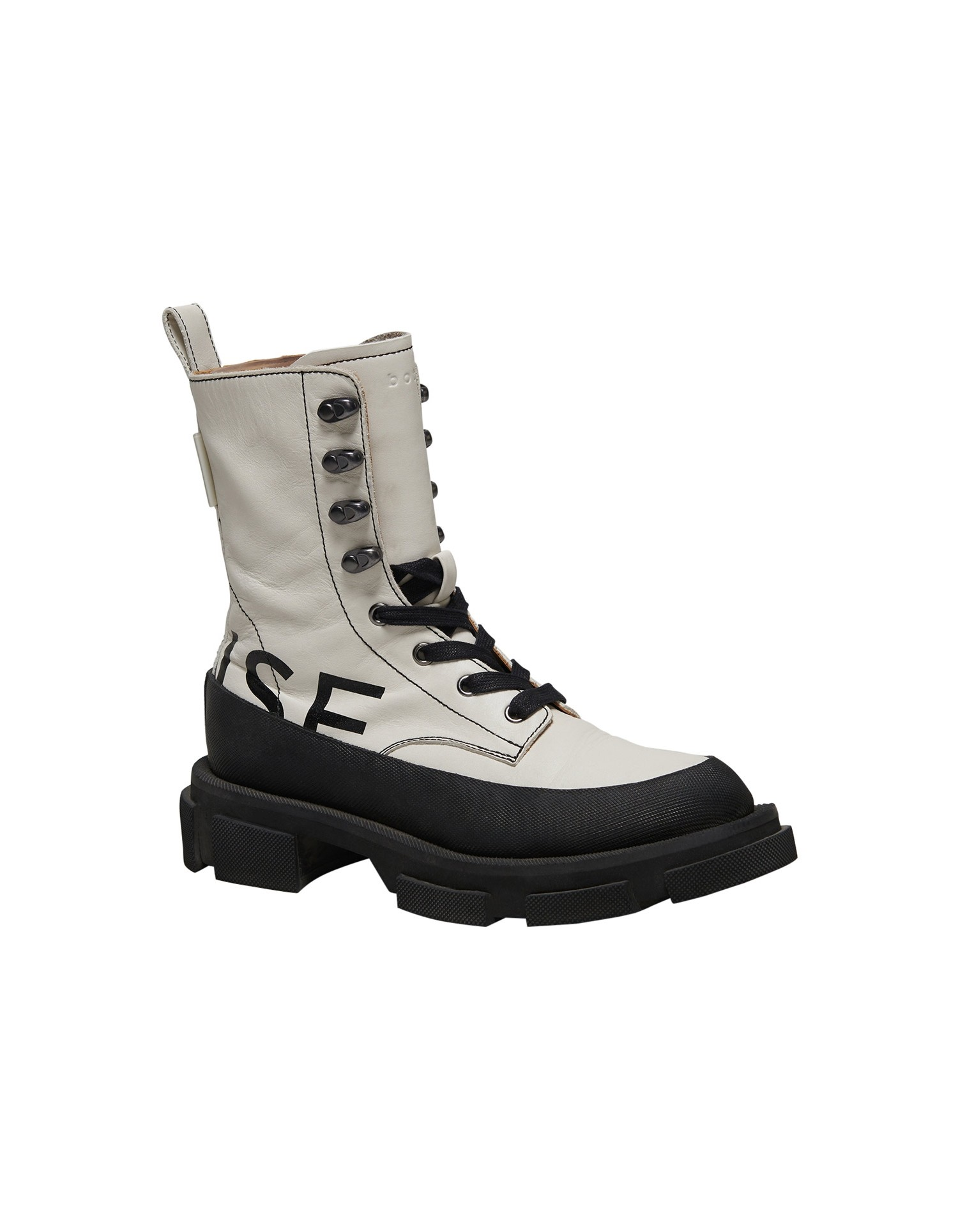 Both x MONSE Gao High Boots in White and Black Right Side Angle View